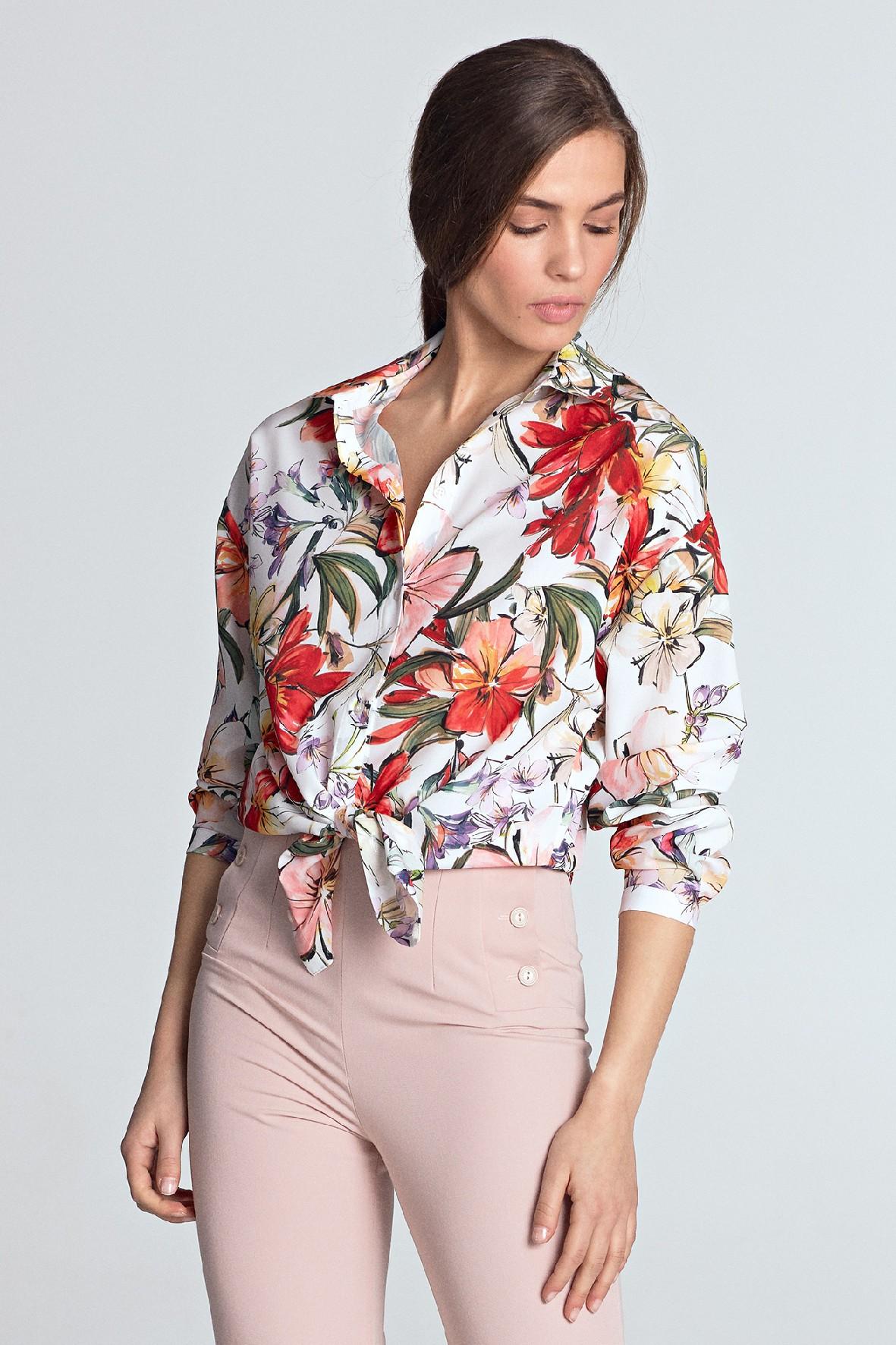 Jasna koszula damska w kwiaty oversize