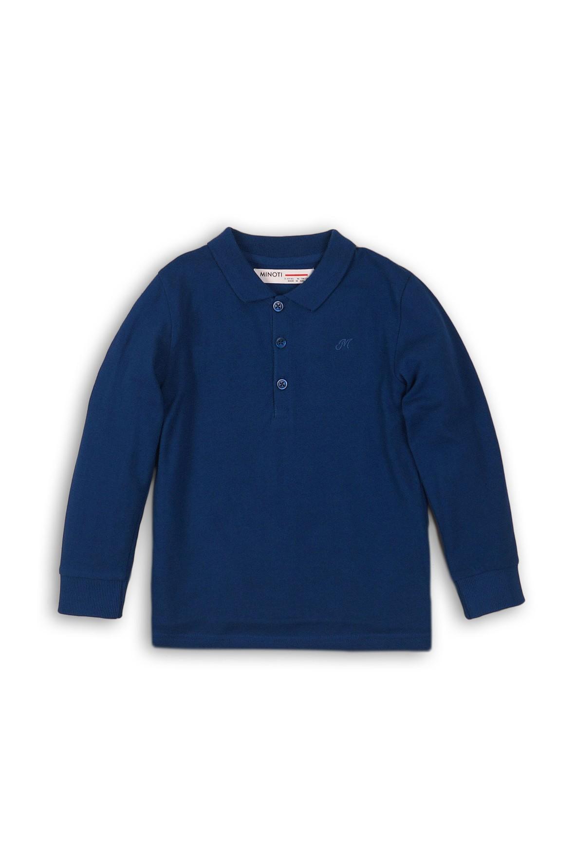 Dzianinowa bluzka chłopięca z kołnierzykiem- niebieska rozm 92/98