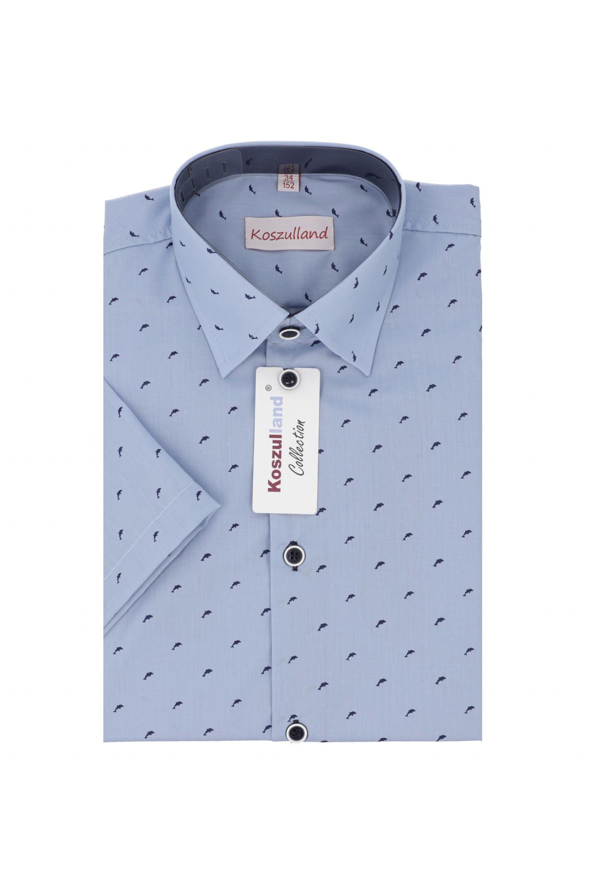 Koszula chłopięca błękitna z nadrukiem- krótki rękaw