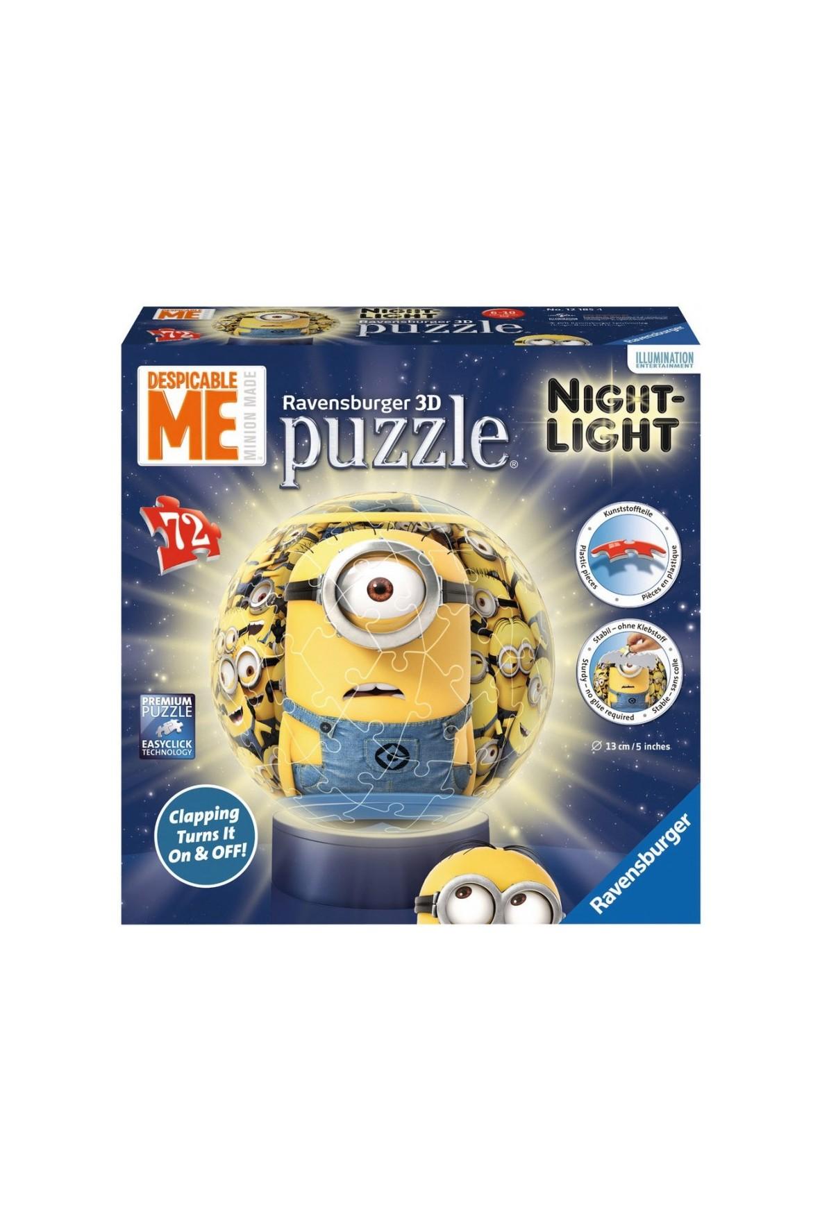 Puzzle 3D z lampką Minionki 72el.