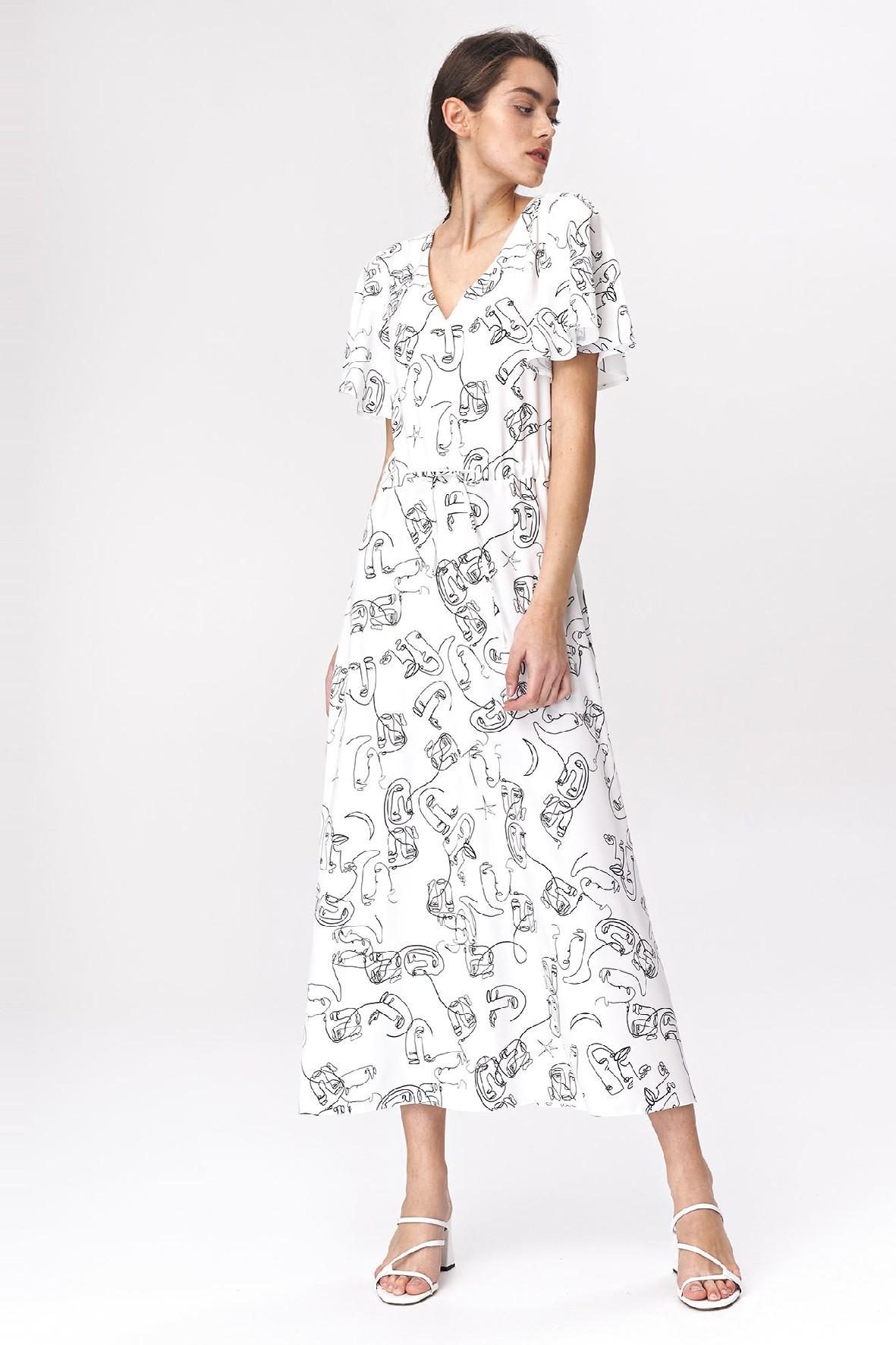 Sukienka damska maxi z rozkloszowanymi rękawami