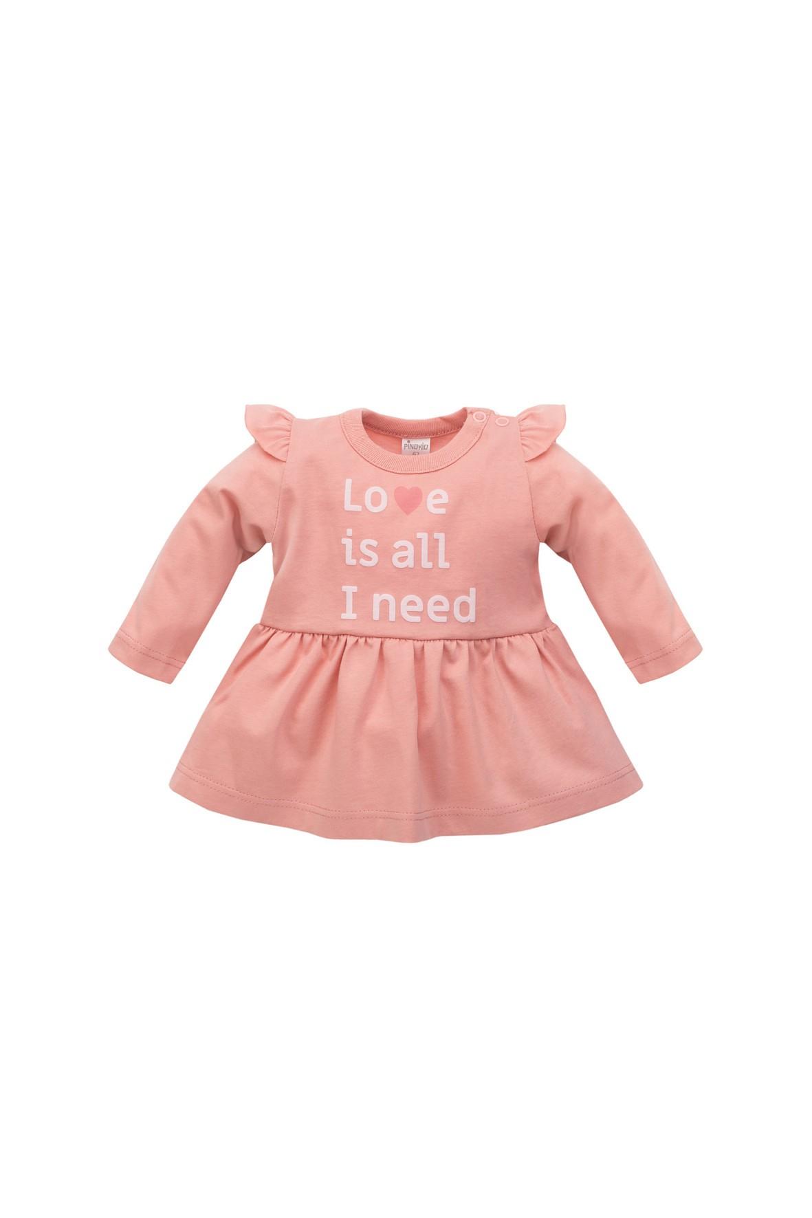 Tunika niemowlęca różowa- Love is all I need