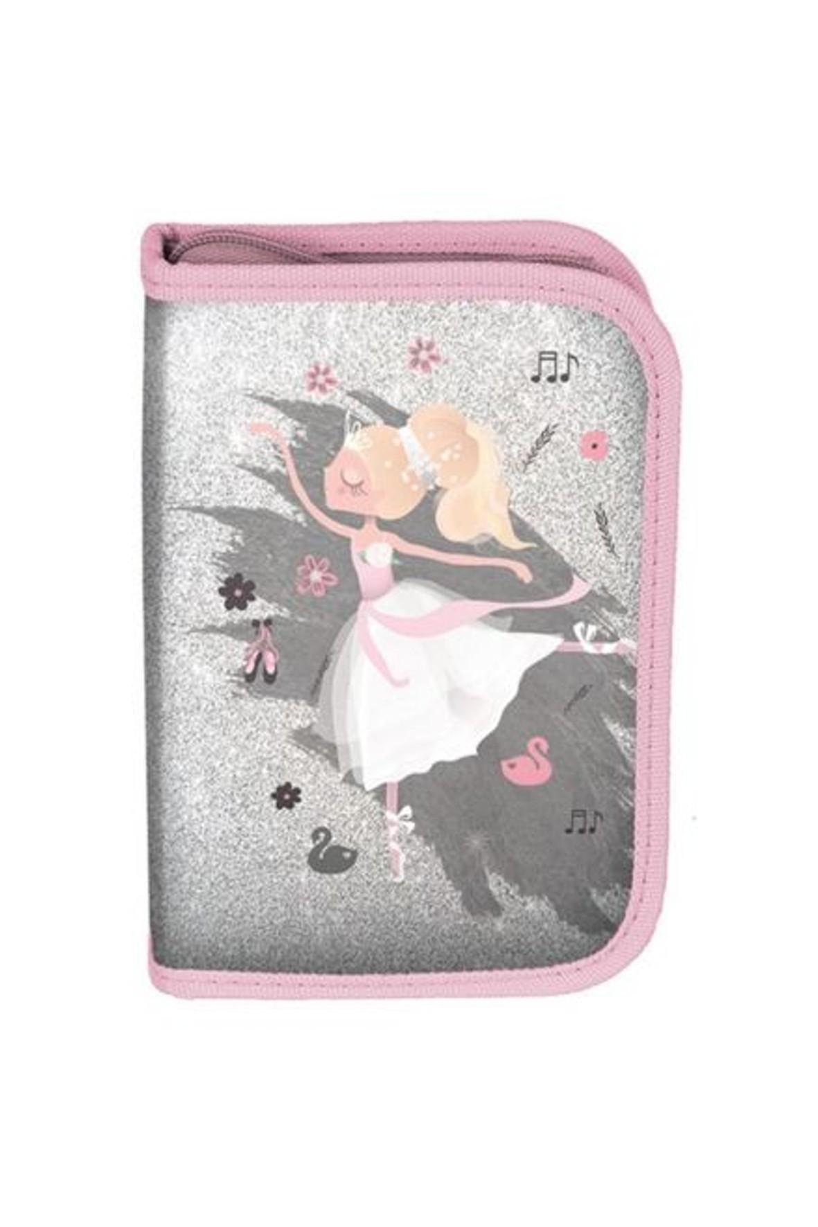 Piórnik dla dziewczynki bez wyposażenia różowo-szary