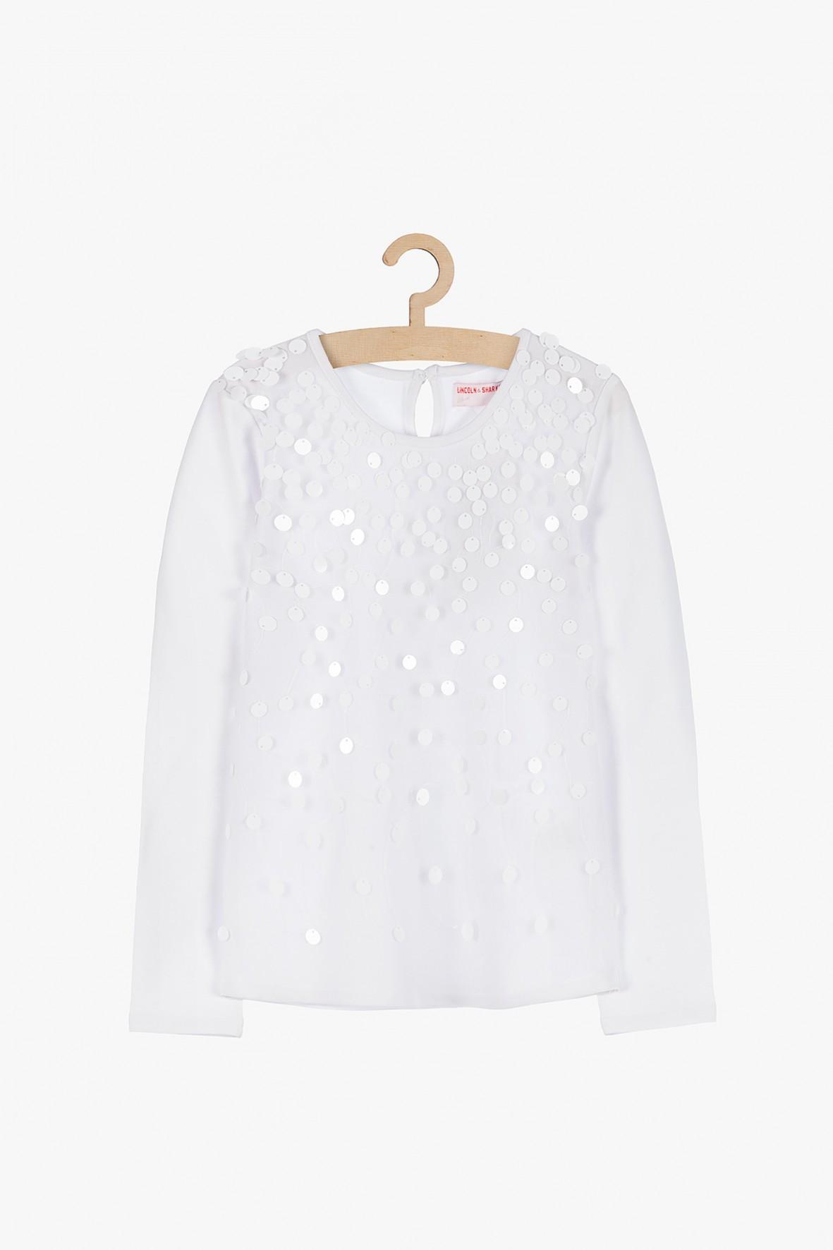 Biała bluzka z cekinami- długi rękaw