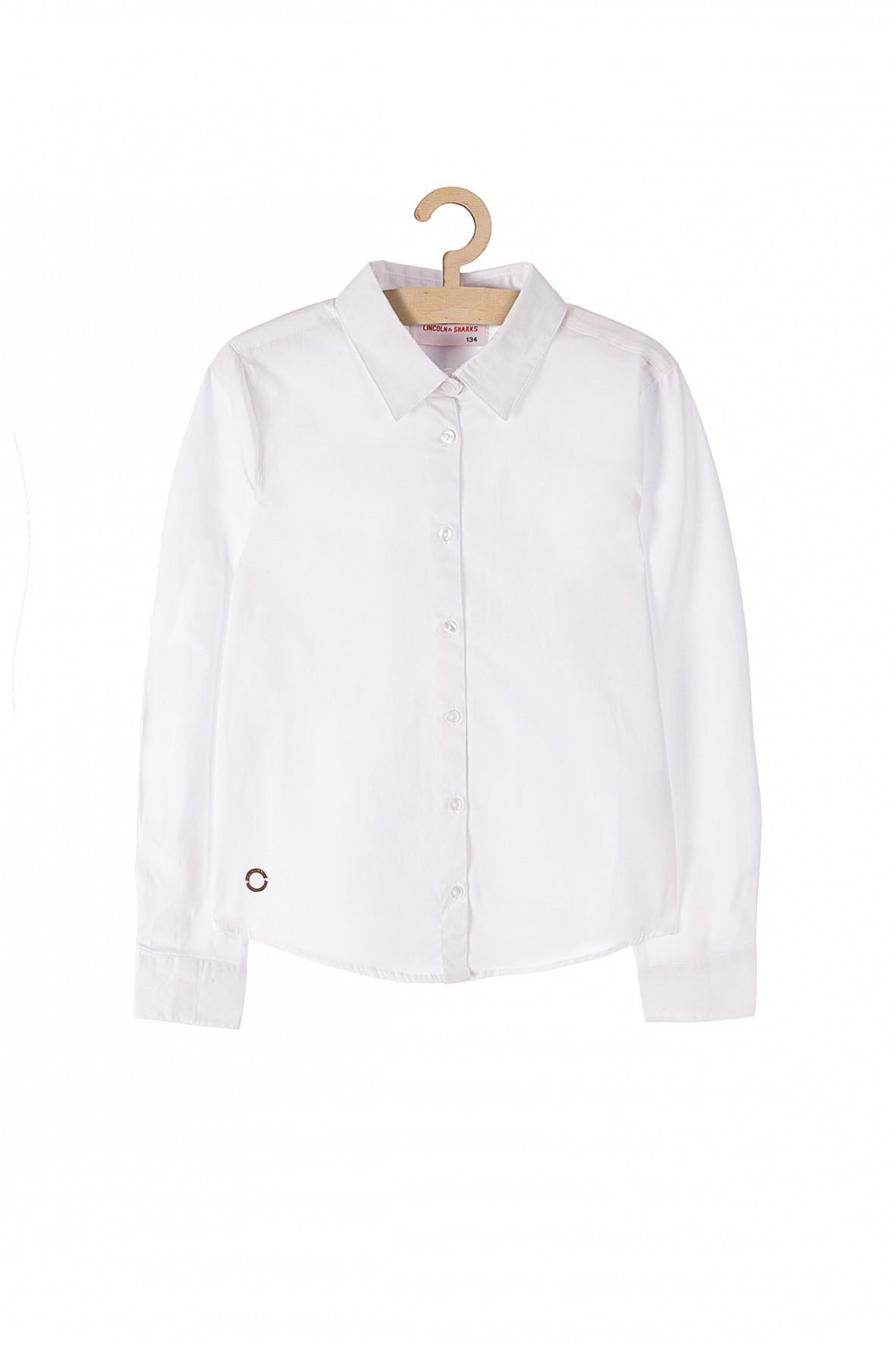 Koszula dziewczęca biała z długim rękawem