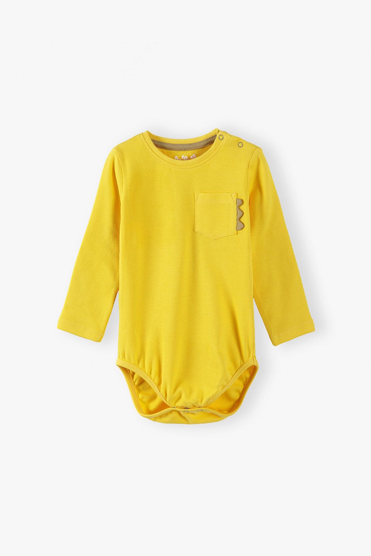 Body niemowlęce z kieszonką - żółte
