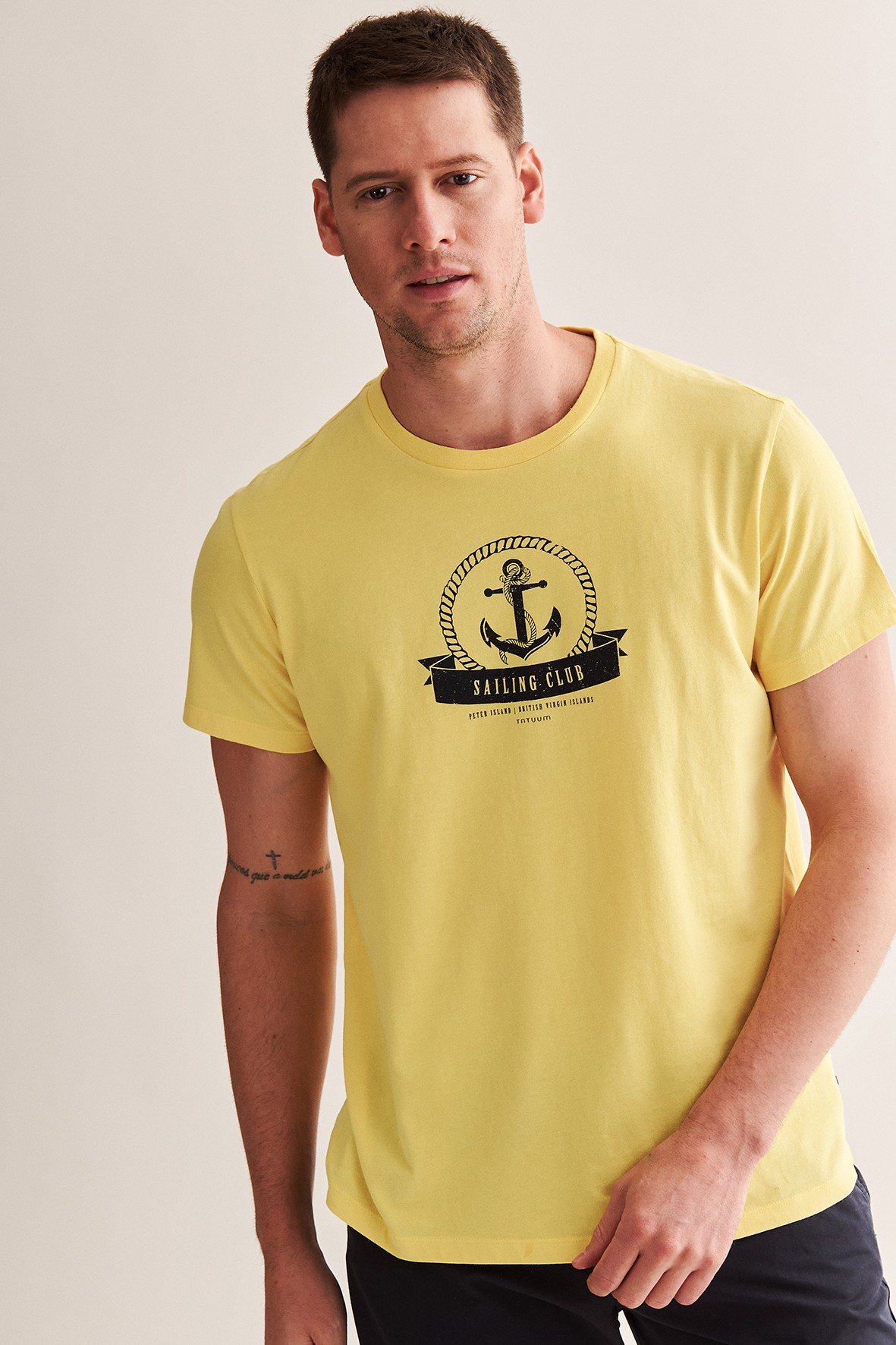 Bawełniany t-shirt męski z kotwicą - żółty