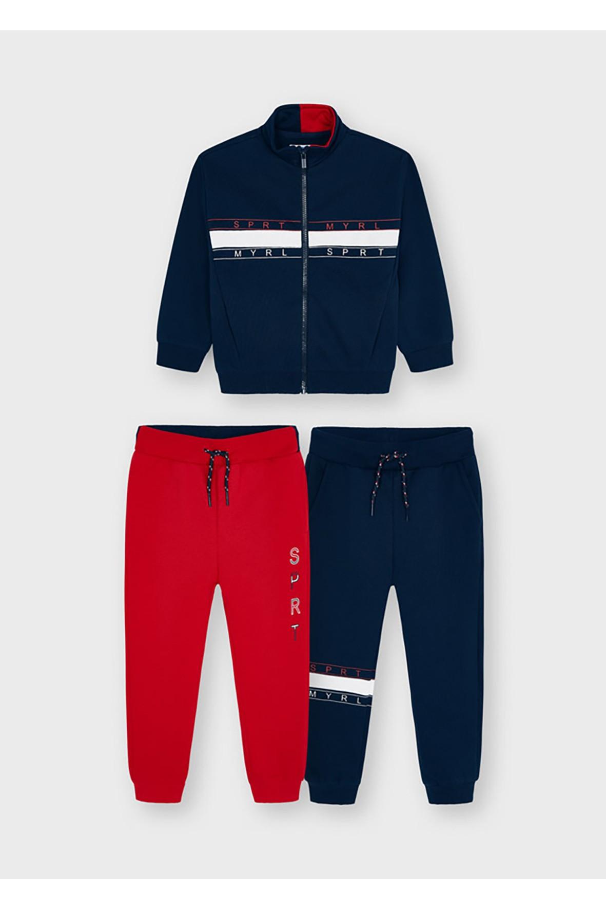 Dres chłopięcy - rozpinana bluzka bez kaptura i 2 x spodnie dresowe Mayoral