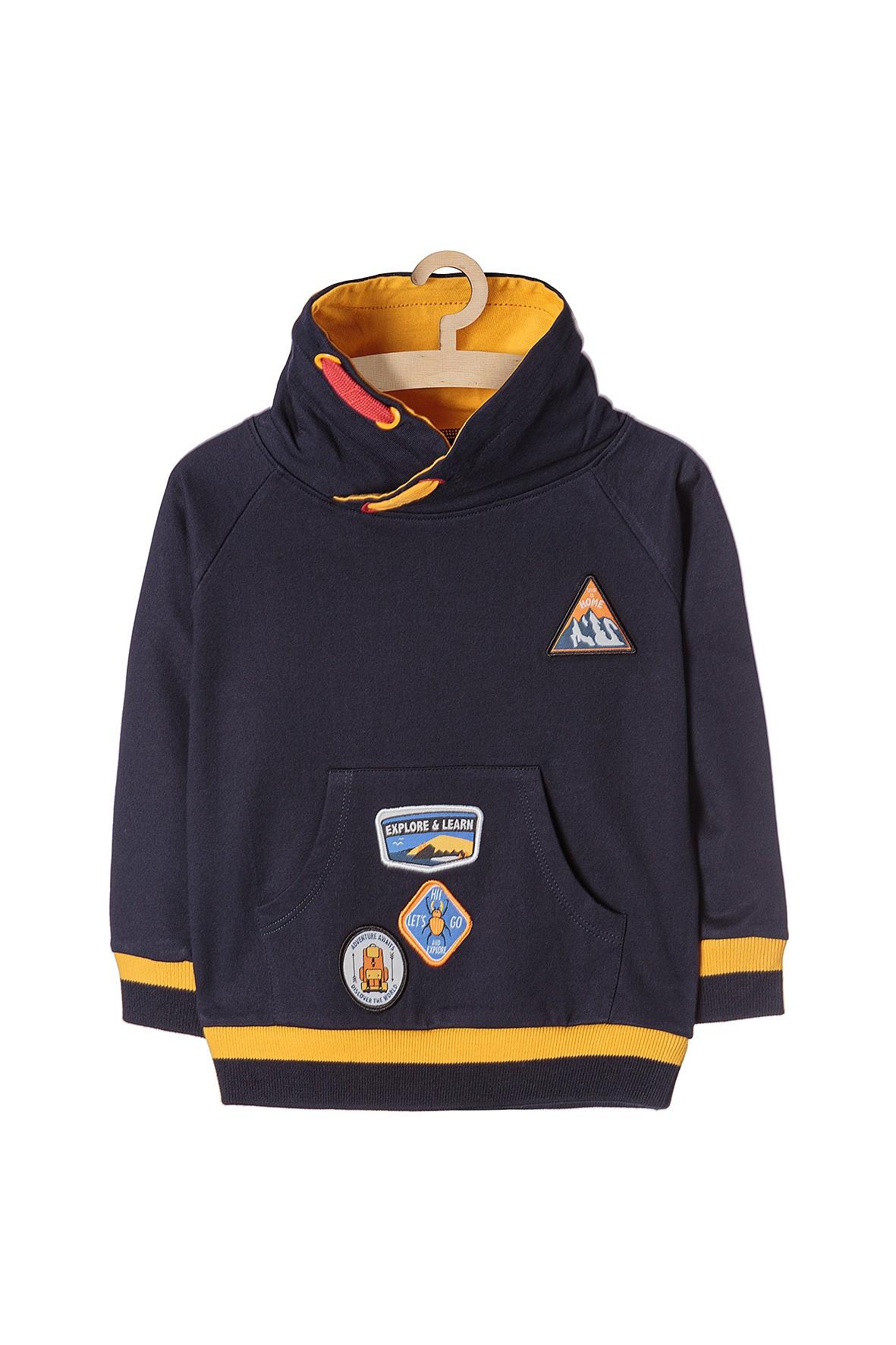 Bluza dresowa dla przedszkolaka- granatowa z naszywkami