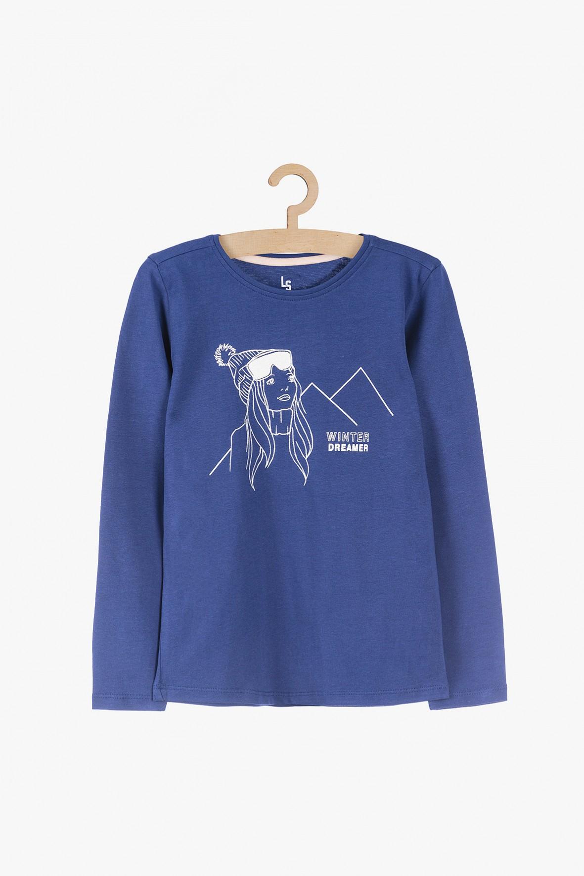 Bawełniana- niebieska bluzka z długim rękawem