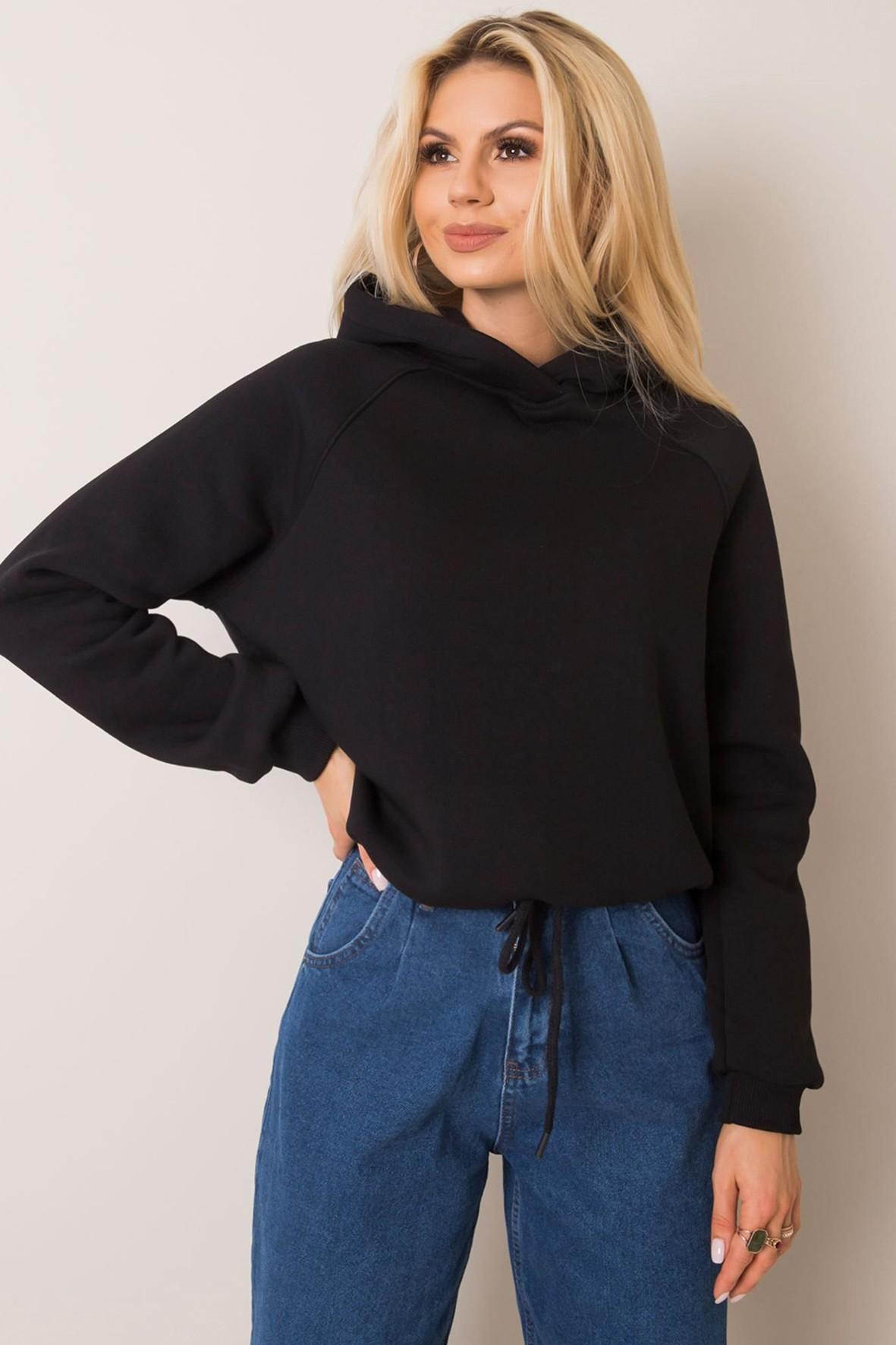 BASIC Bluza damska z kapturem - czarna