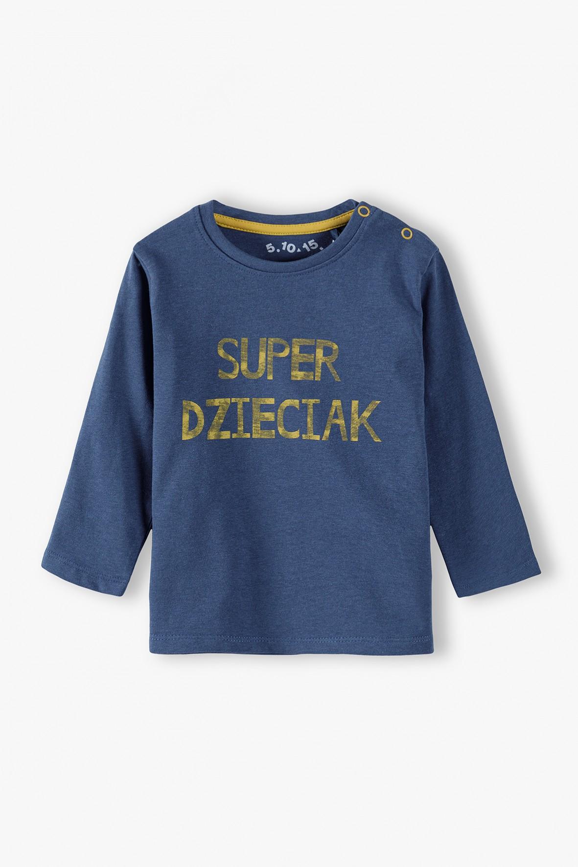 Bluzka niemowlęca z polskim napisem - SUPER DZIECIAK- niebieska