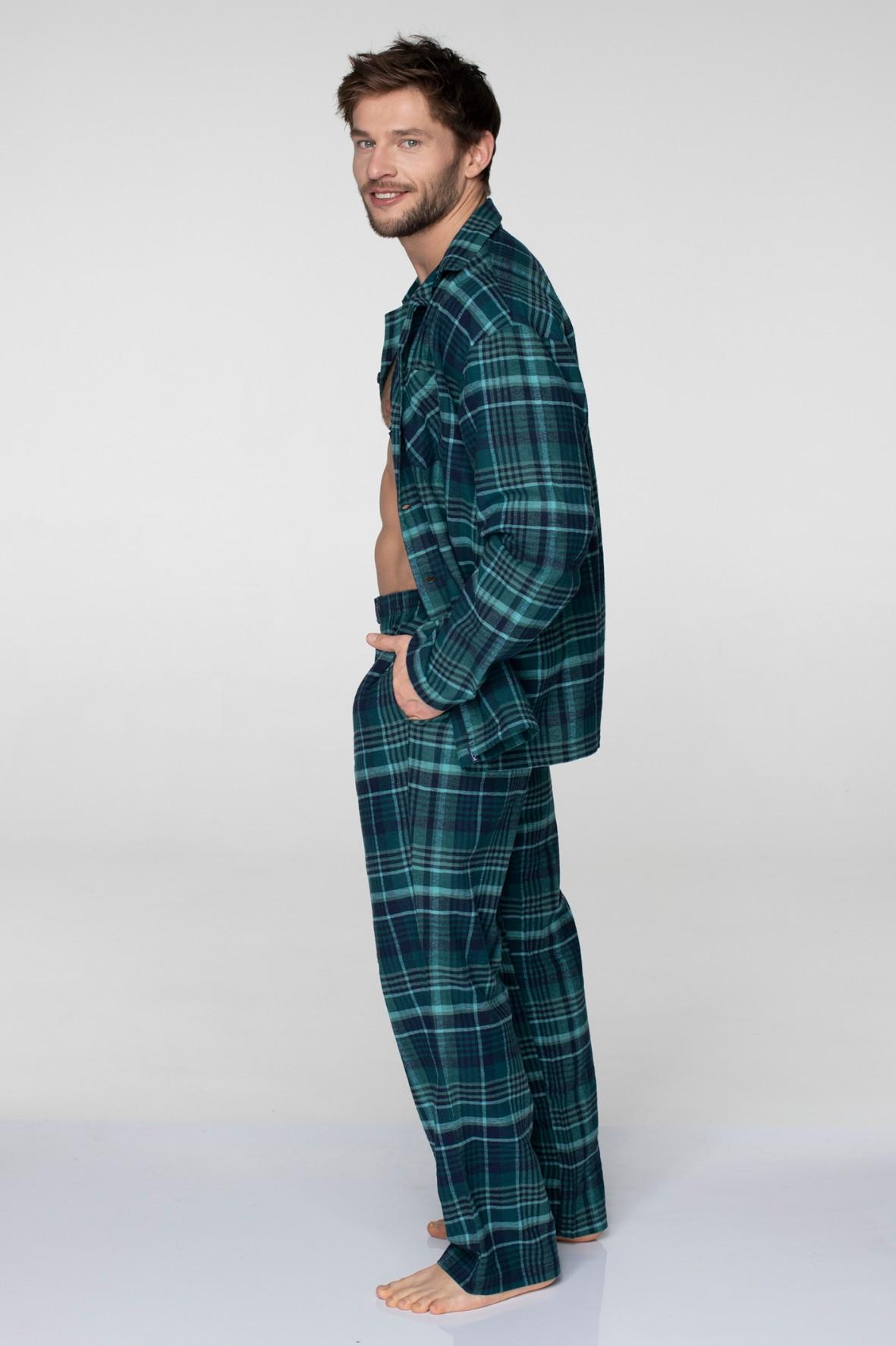 Flanelowa piżama męska w kratę - zielona