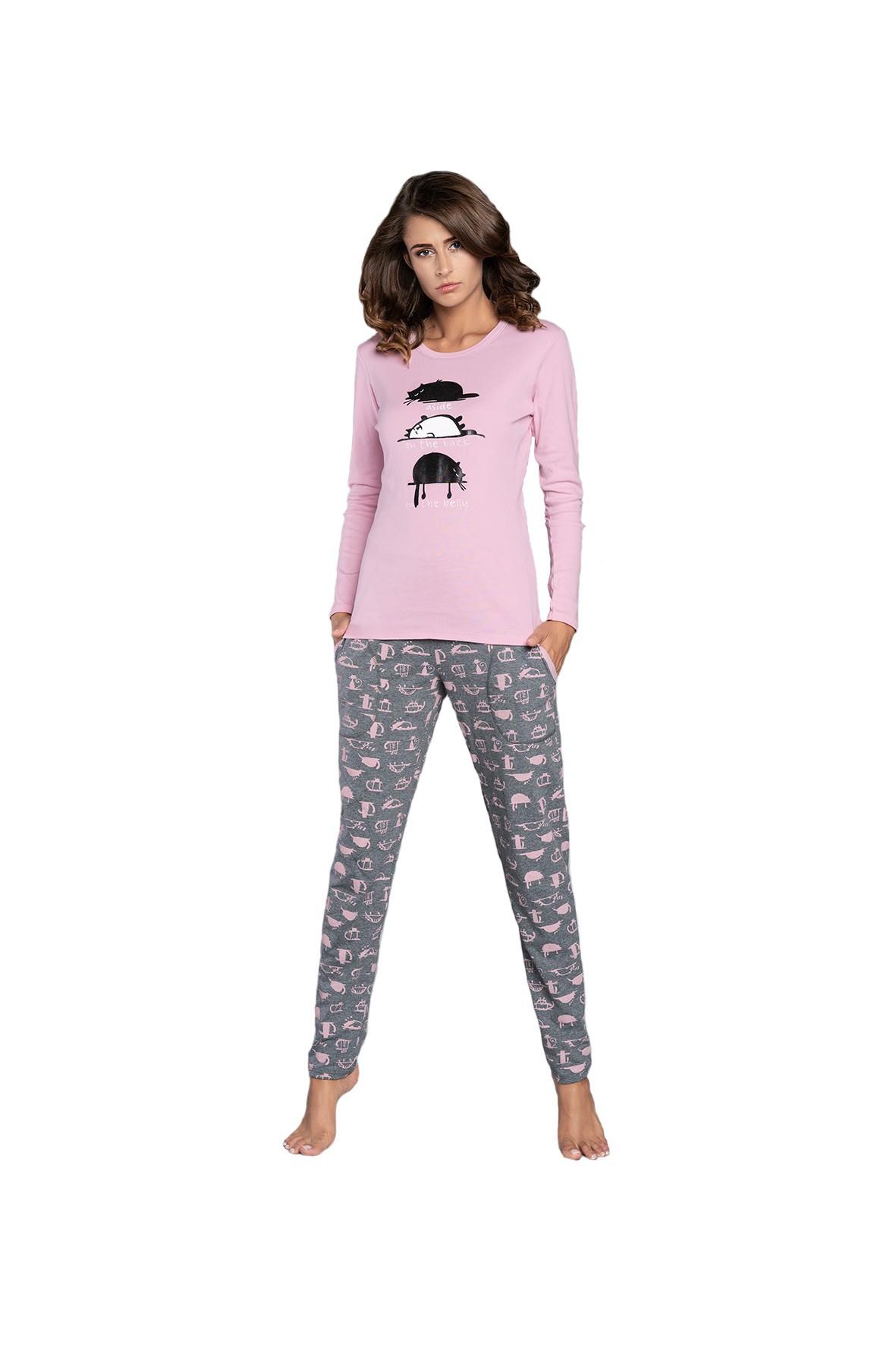 Piżama damska w koty na długi rękaw różowa + długie spodnie  szare