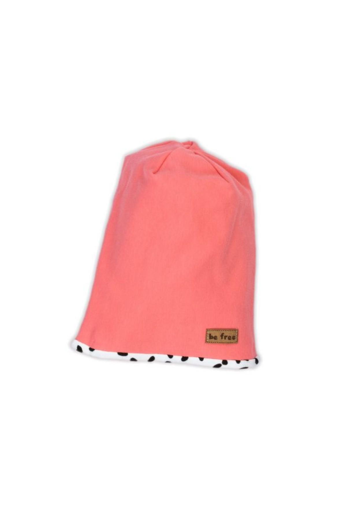 Czapka dresowa dla dziewczynki w kolorze koralowym