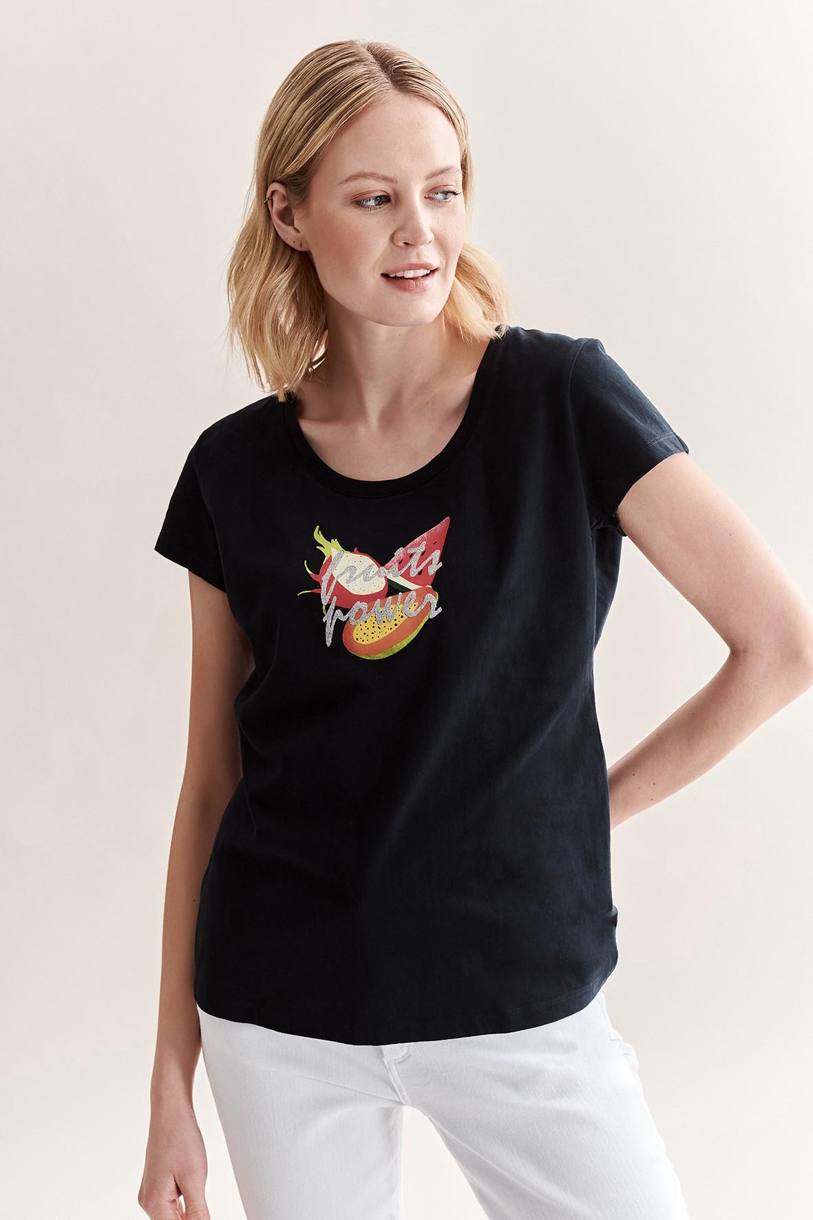 Bawełniany t-shirt damski z owocami - czarny