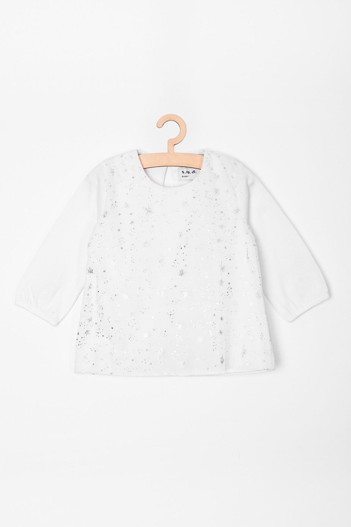 Bluzka niemowlęca biała z tiulem i srebrnymi nadrukami