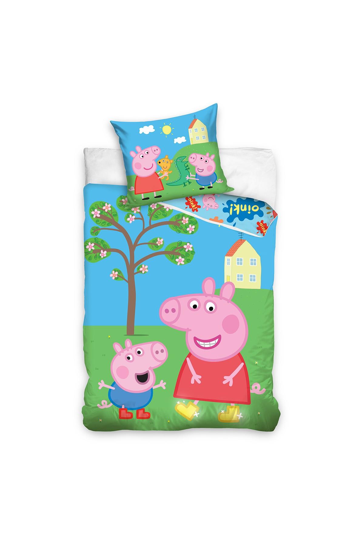 Komplet pościeli bawełnianej dla dzieci Peppa Pig 140x200+70x90 cm