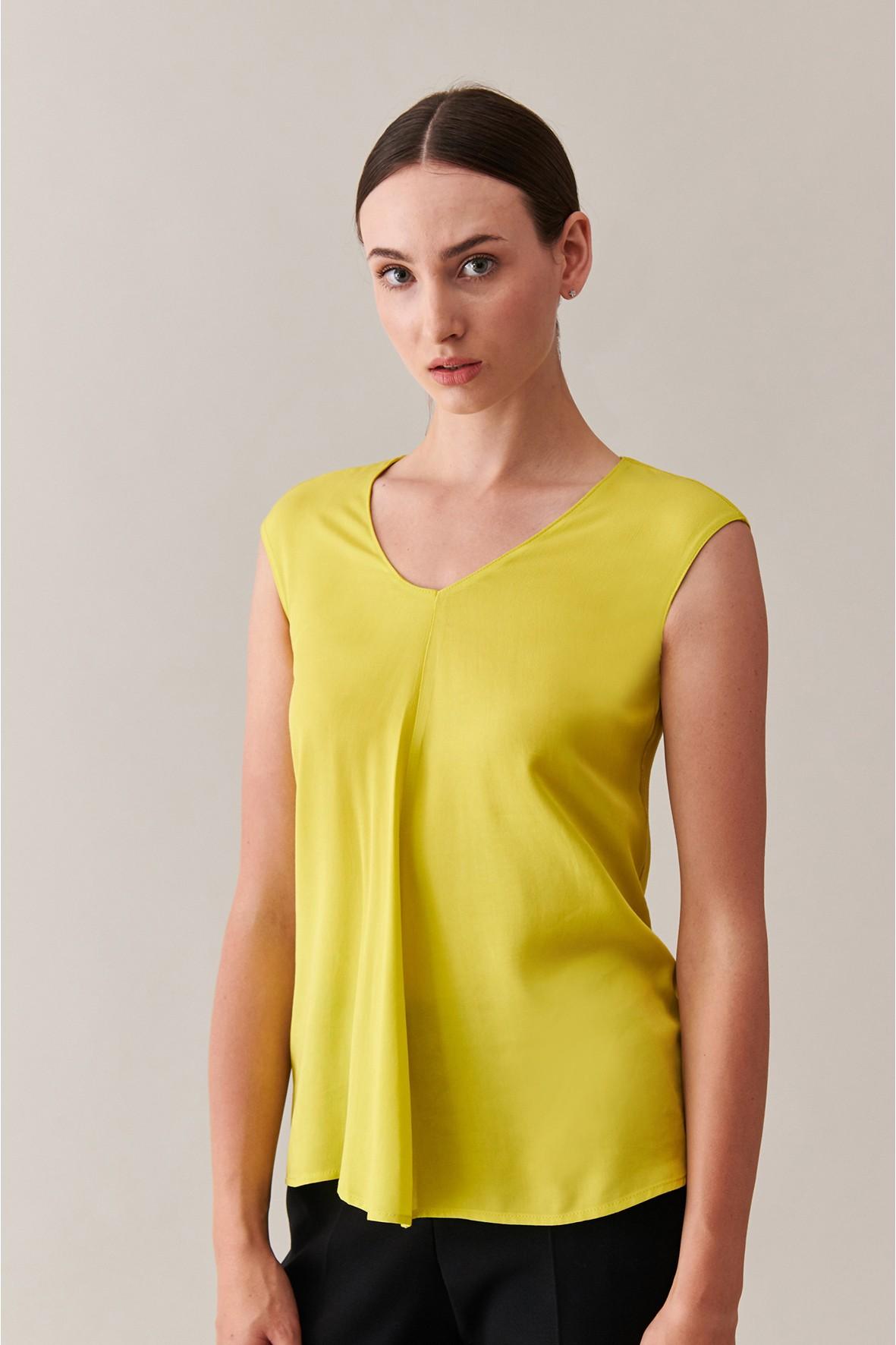 Elegancka bluzka bez rękawów - limonkowa