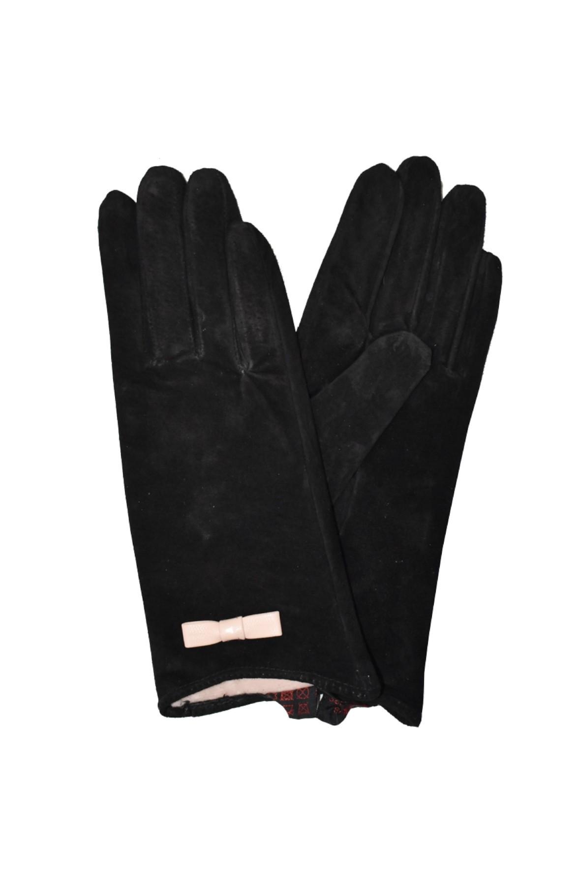 Rękawiczki damskie skórzane - czarne