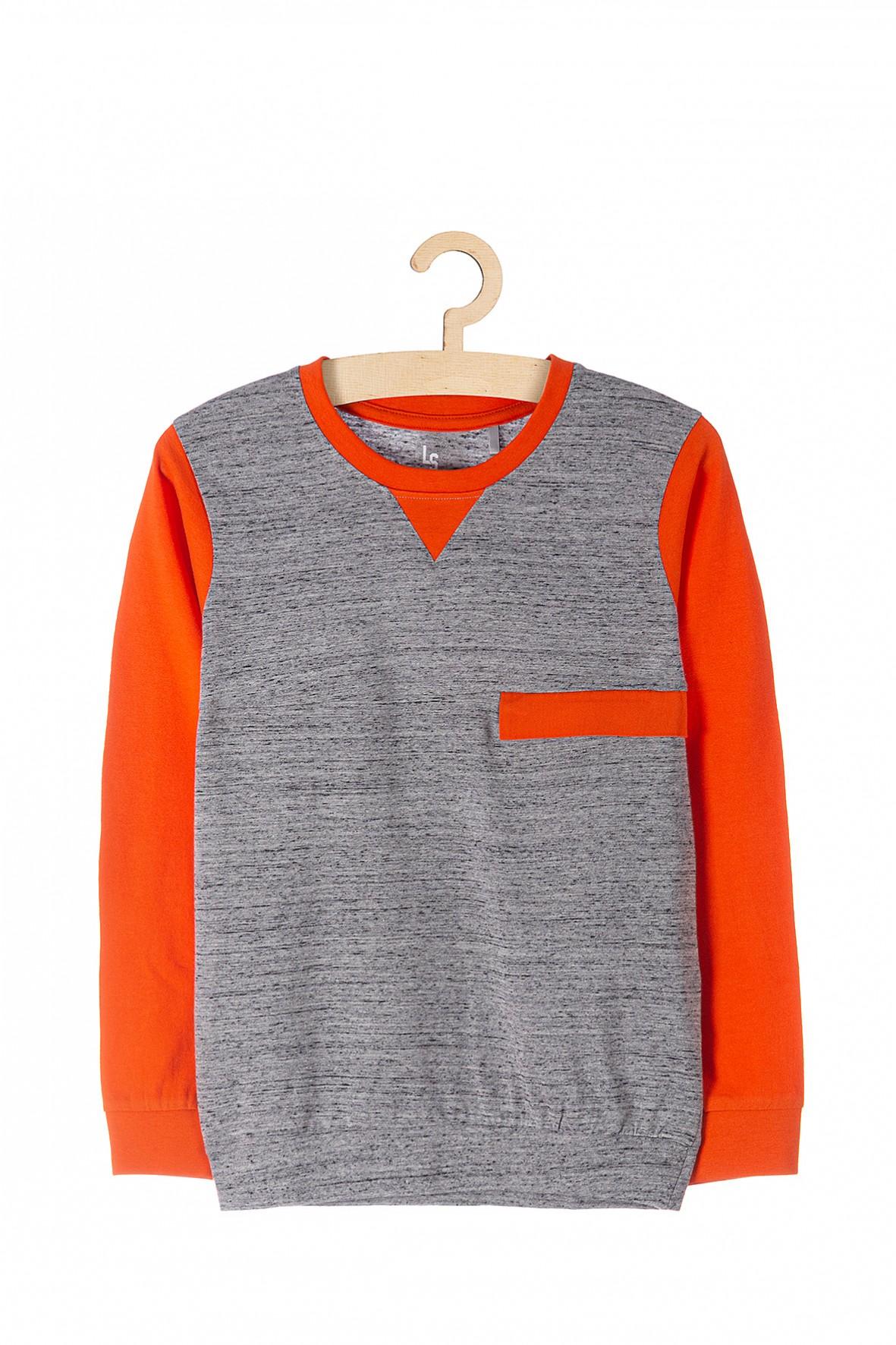 Cienka bluzka chłopięca- szara z pomarańczowymi rękawami