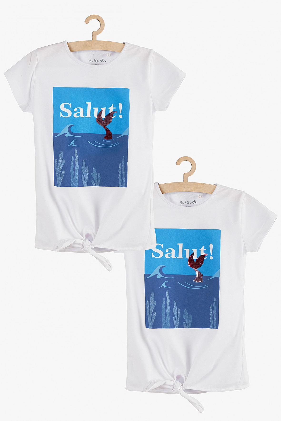 T-shirt dziewczęcy z nadrukiem i odwracanymi cekinami