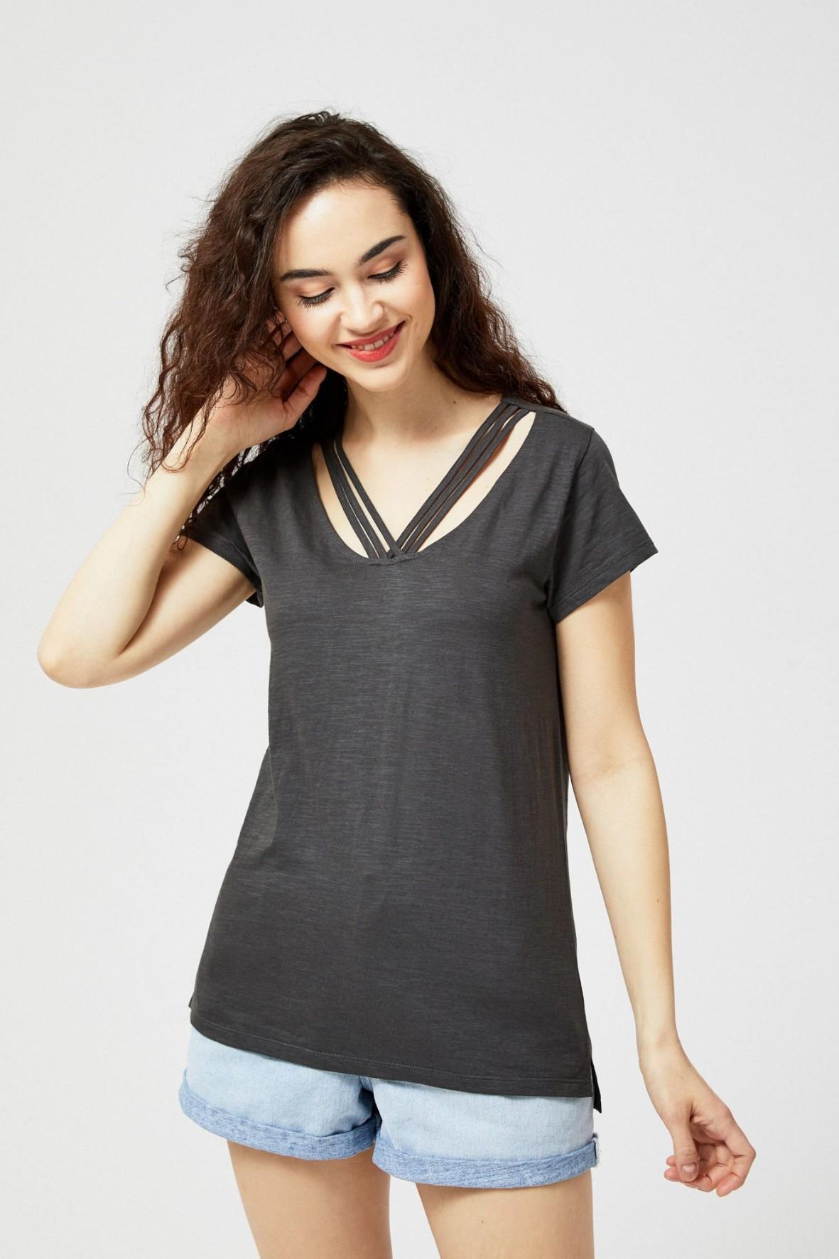 T-shirt damski bawełniany z wiązaniem- szary