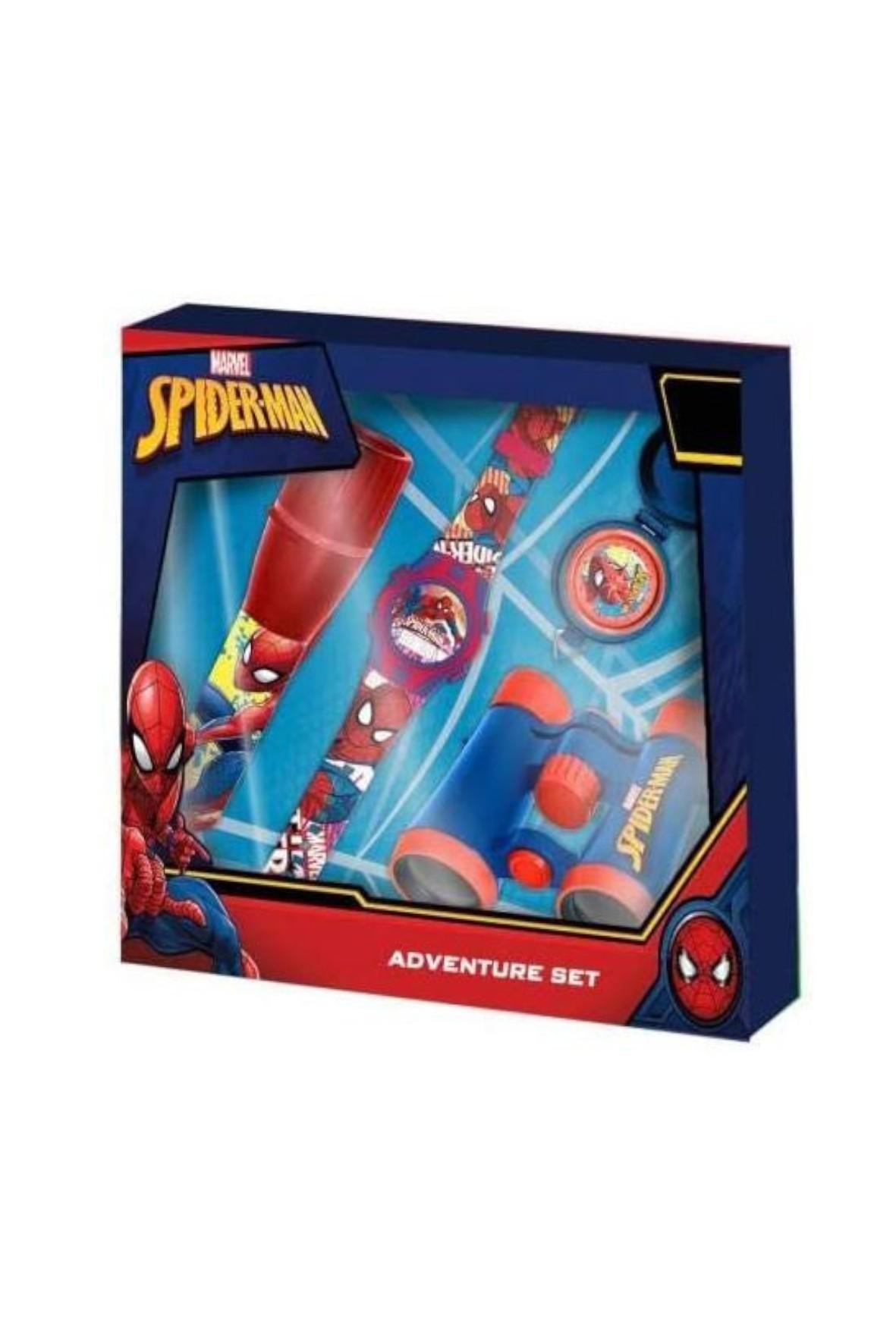 Zestaw Spidermana z cyfrowym zegarkiem , latarką , lornetką i kompasem