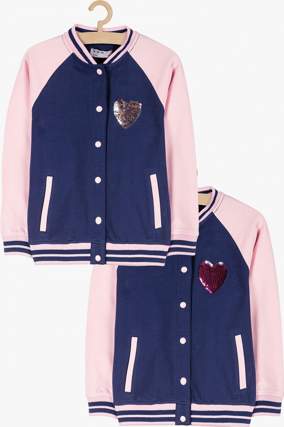Dresowa bluza dziewczęca typu bomber