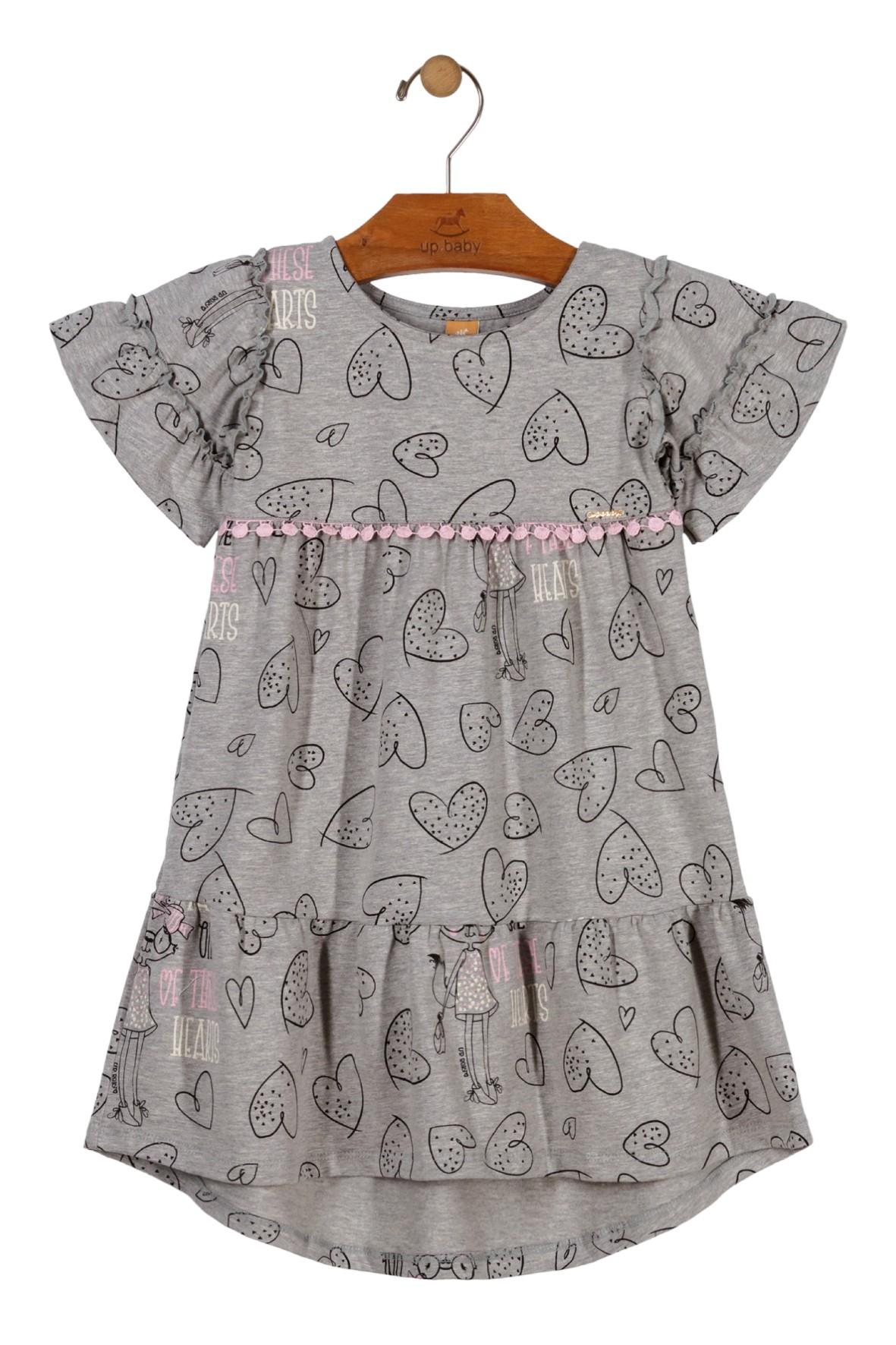 Sukienka dziewczęca szara w serduszka