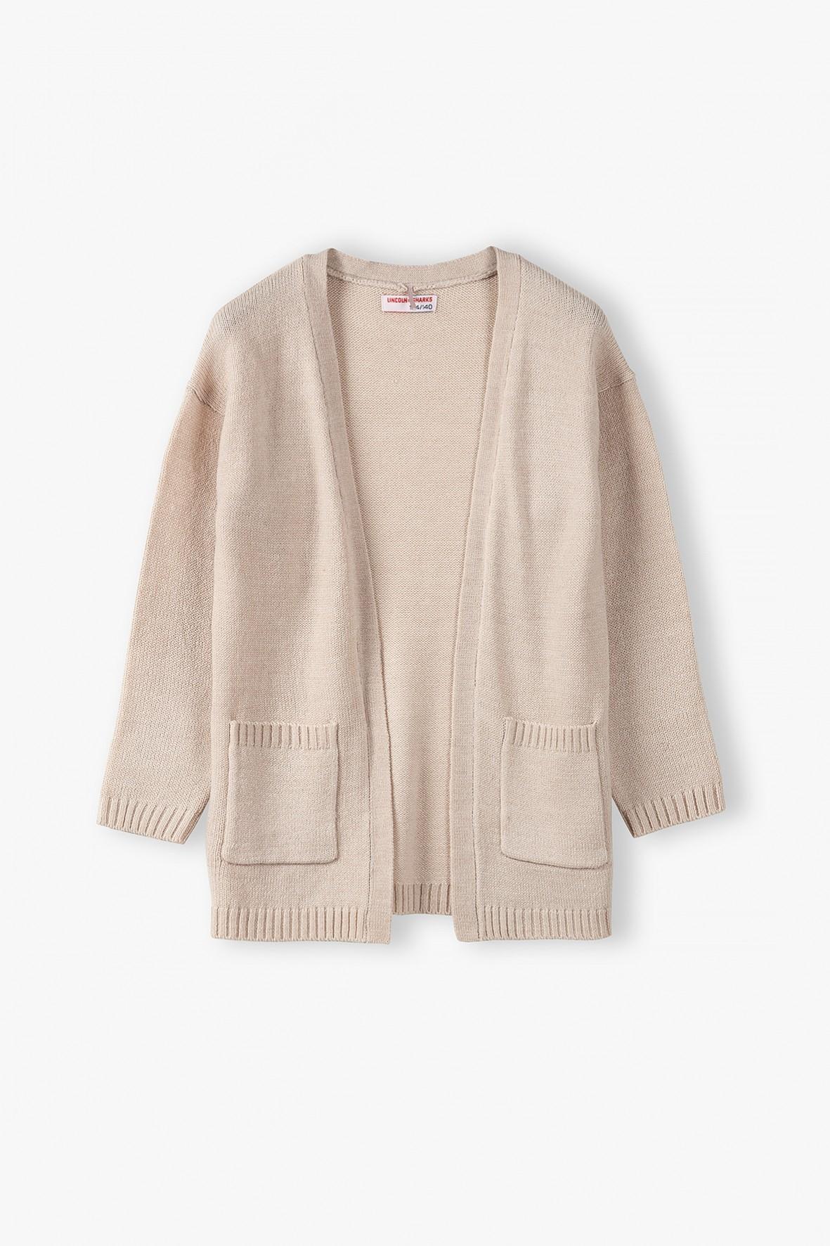 Dzianinowy sweterek dziewczęcy - beżowy
