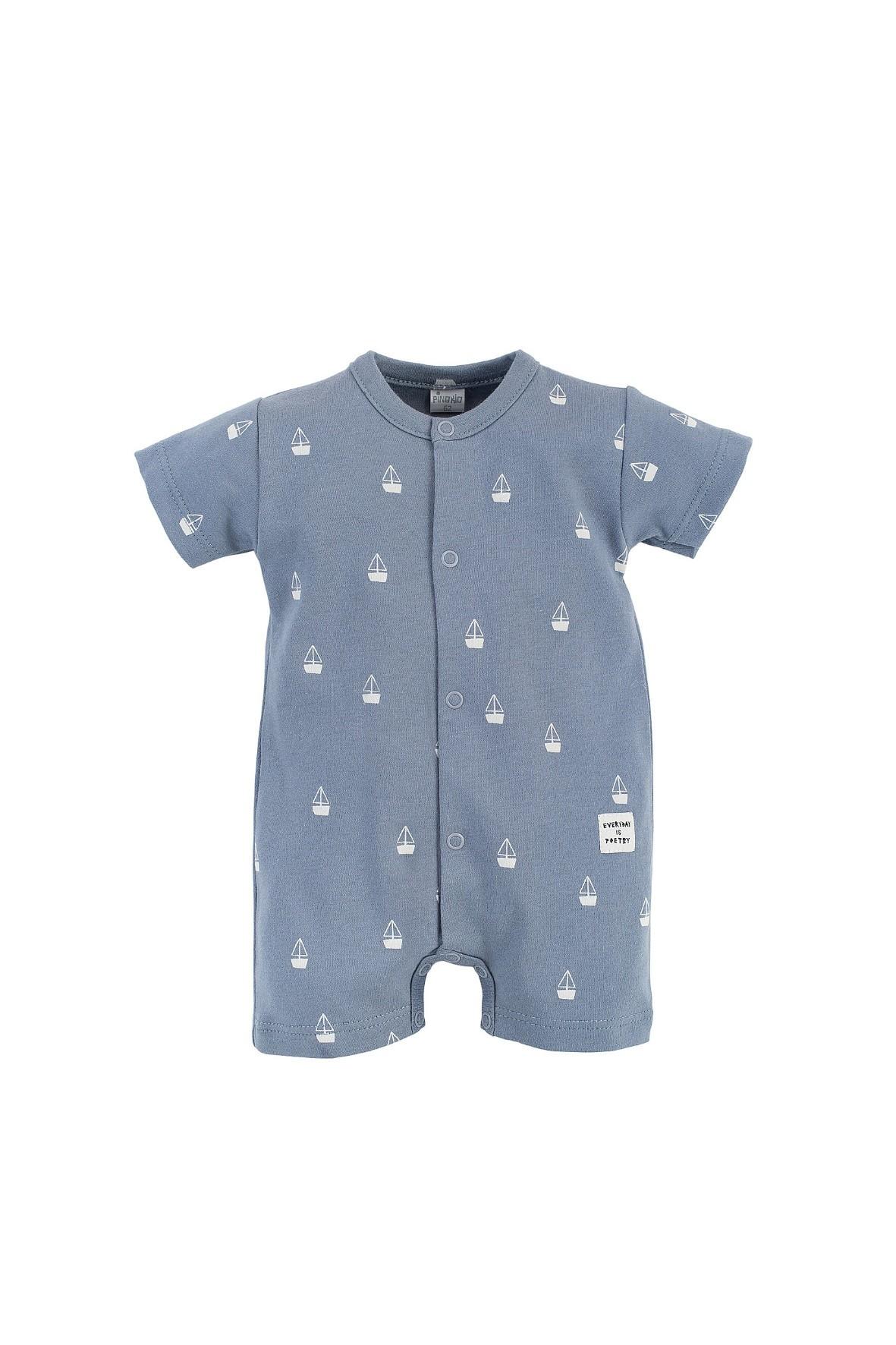 Bawełniany niemowlęcy pajac w kolorze niebieskim - żaglówki