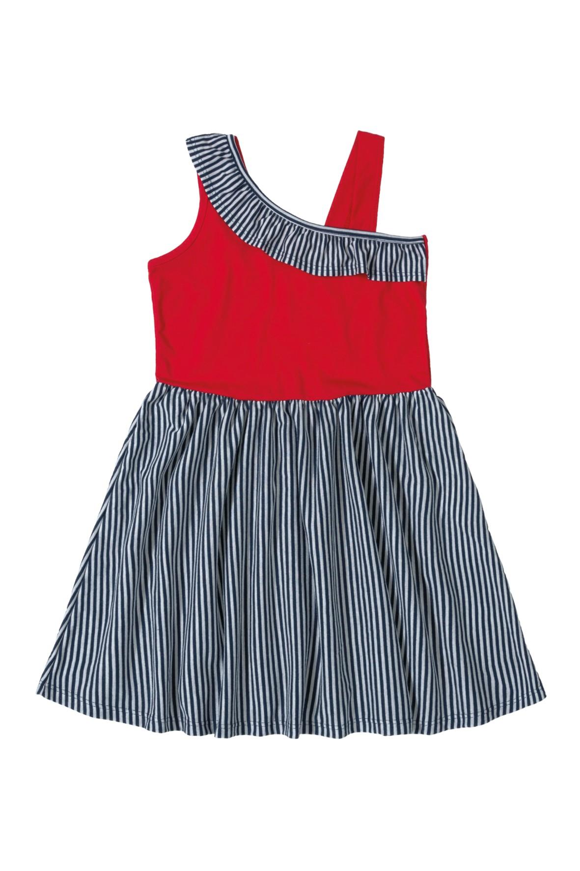Sukienka dziewczęca w paski granatowo-czerwona