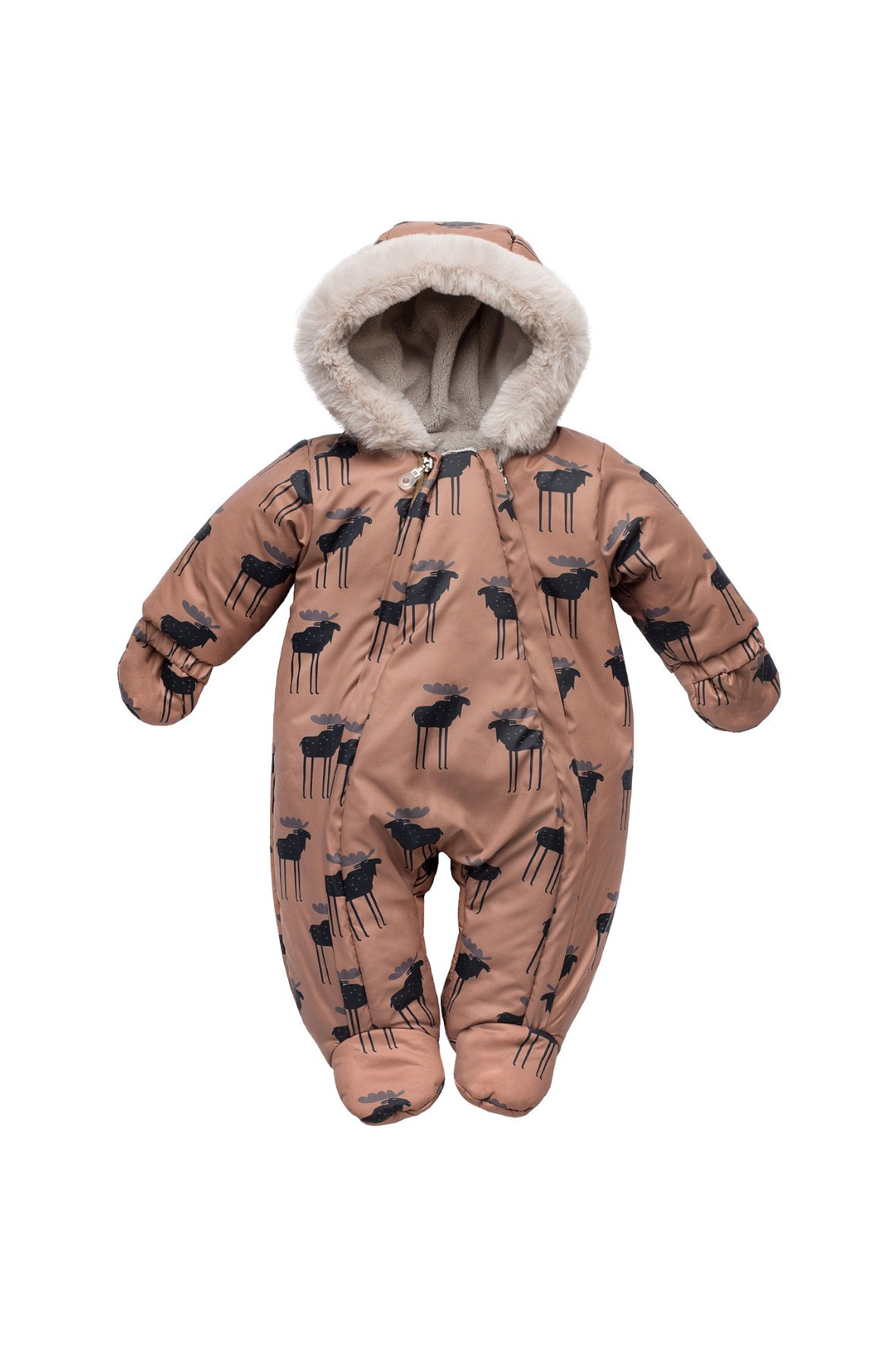 Kombinezon niemowlęcy - brązowy Łosie