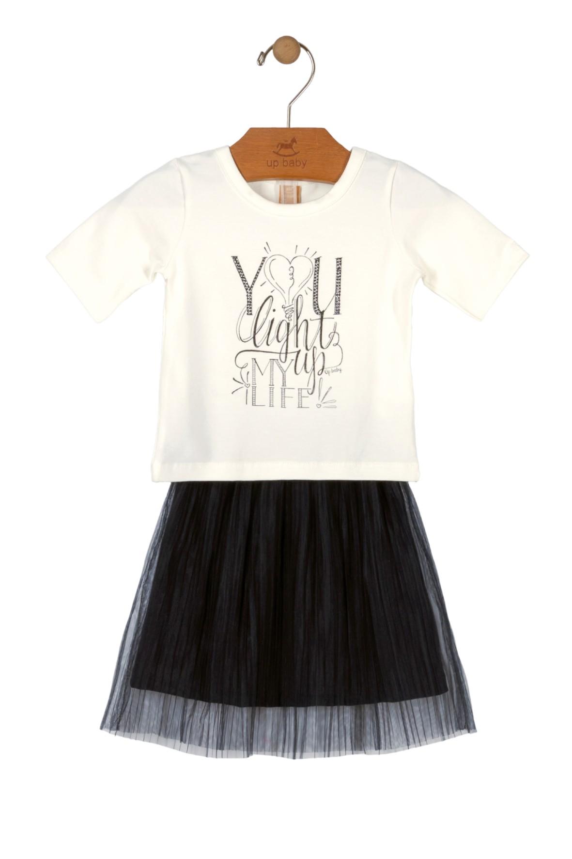 Komplet ubrań dziewczęcych - biały t-shirt i tiulowa spódnica