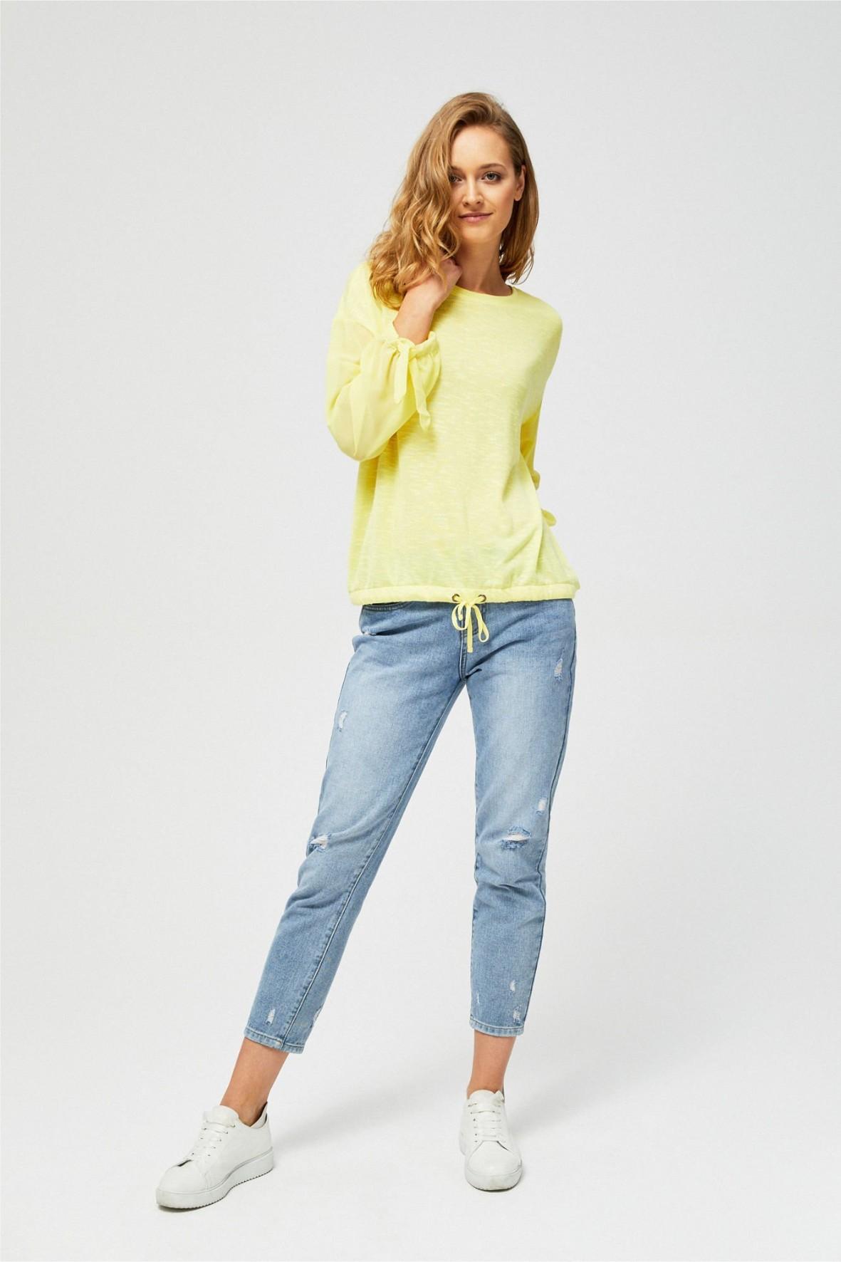 Żółta bluzka z transparentnymi rękawami