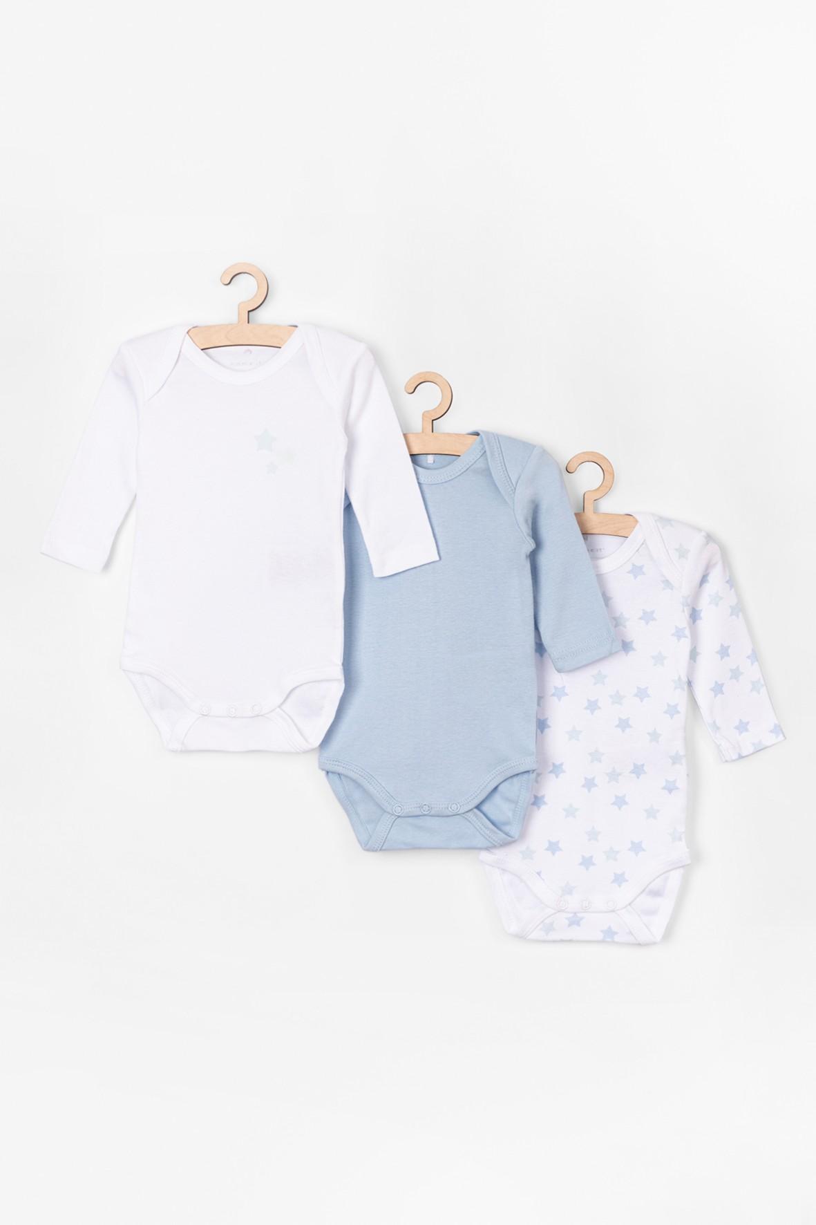 Body bawełniane  niemowlęce niebieskie 3pak