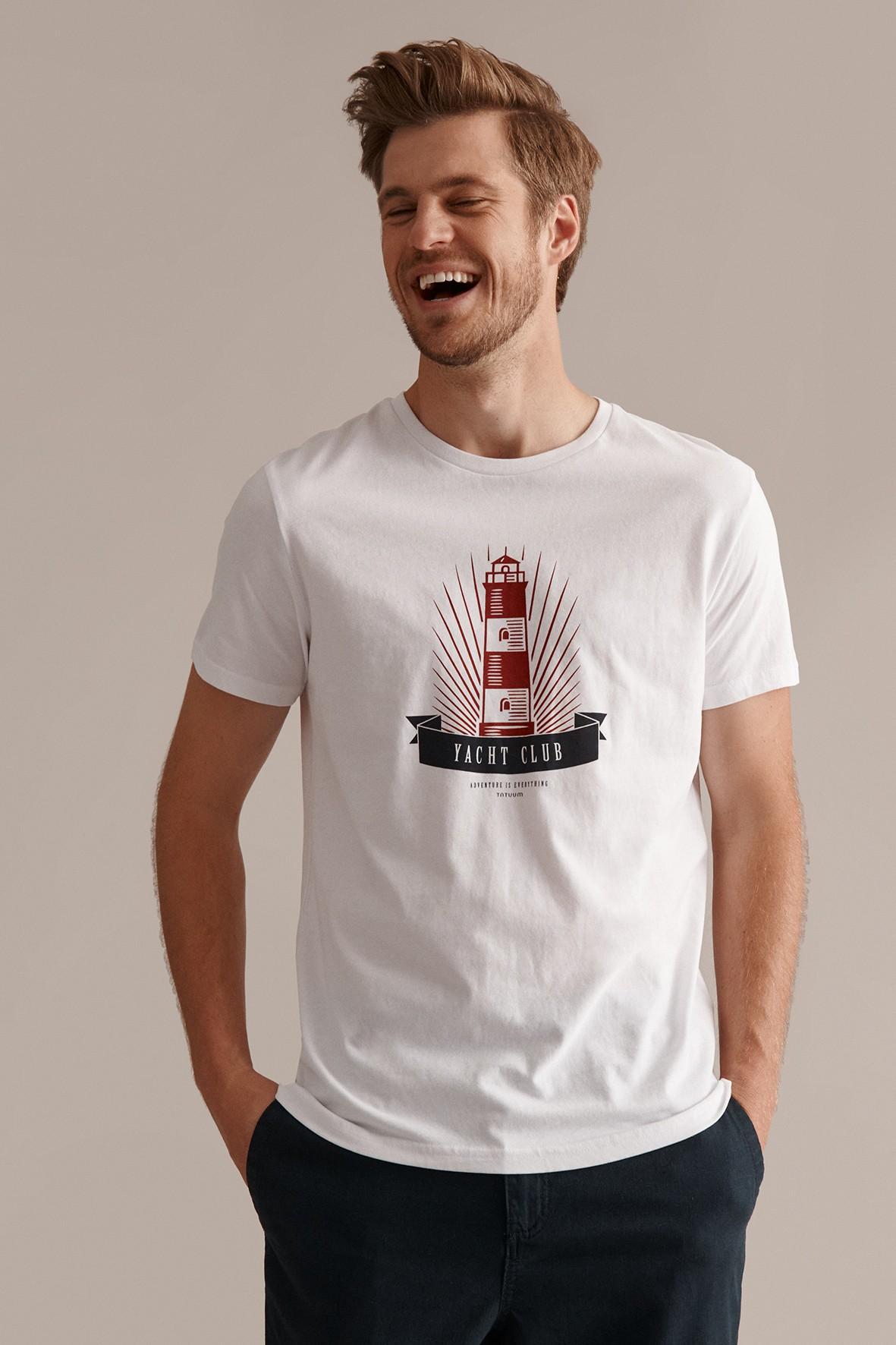 T-shirt męski z żeglarskim motywem  z wiskozy