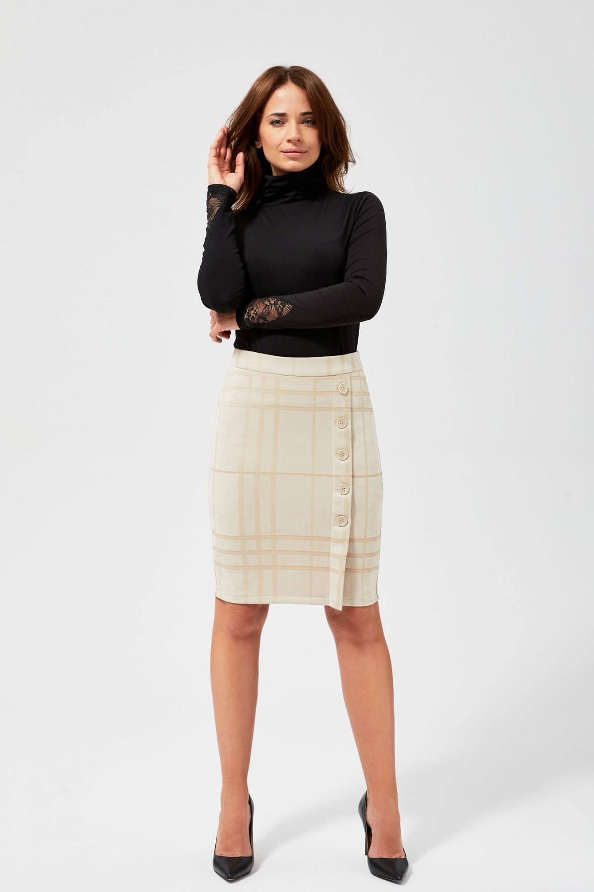 Spódnica damska z imitacji zamszu- ecru w kratę