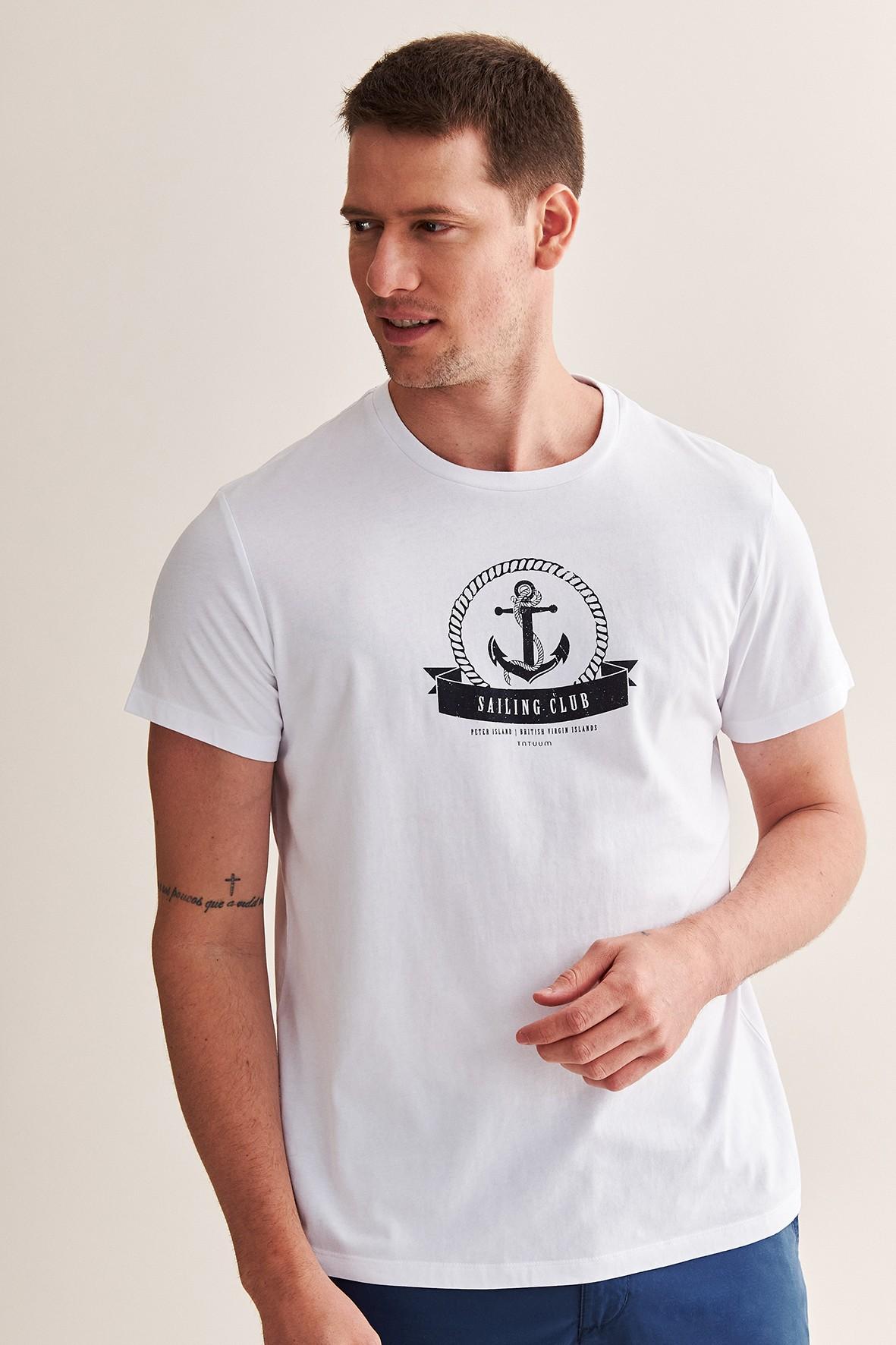 Bawełniany t-shirt męski z kotwicą - biały