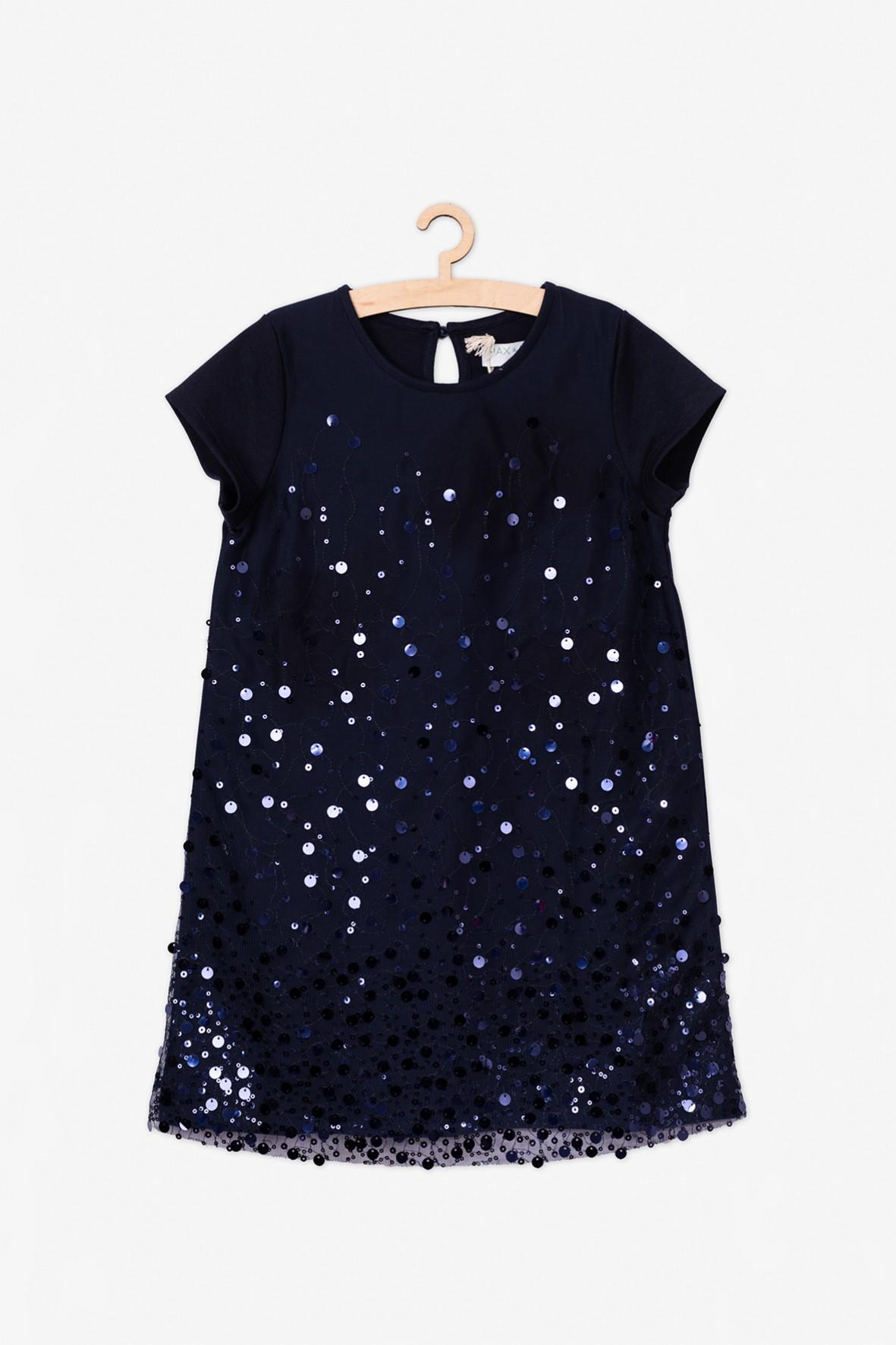 Granatowa sukienka z połyskującymi cekinami
