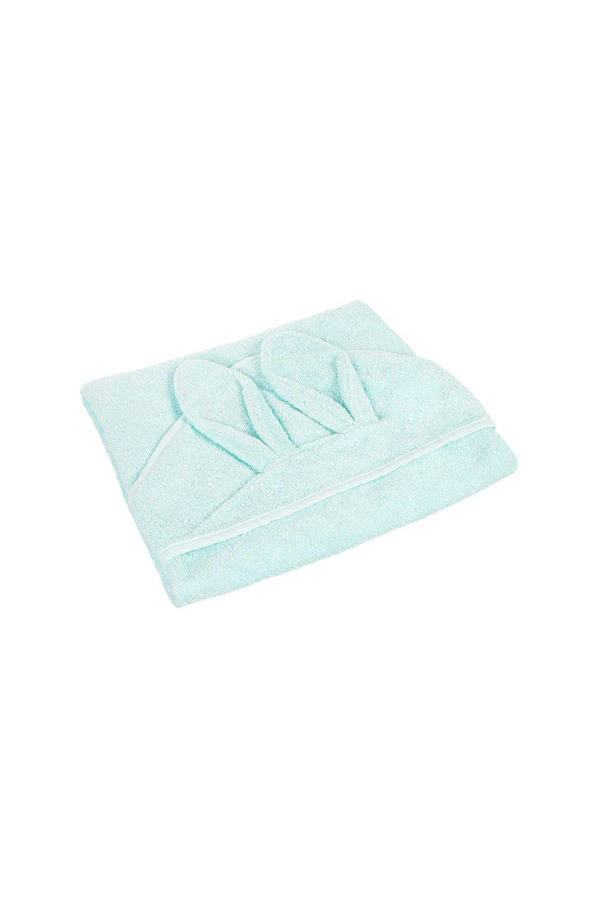 Bawełniane okrycie kąpielowe dla niemowląt- niebieskie 100x100cm