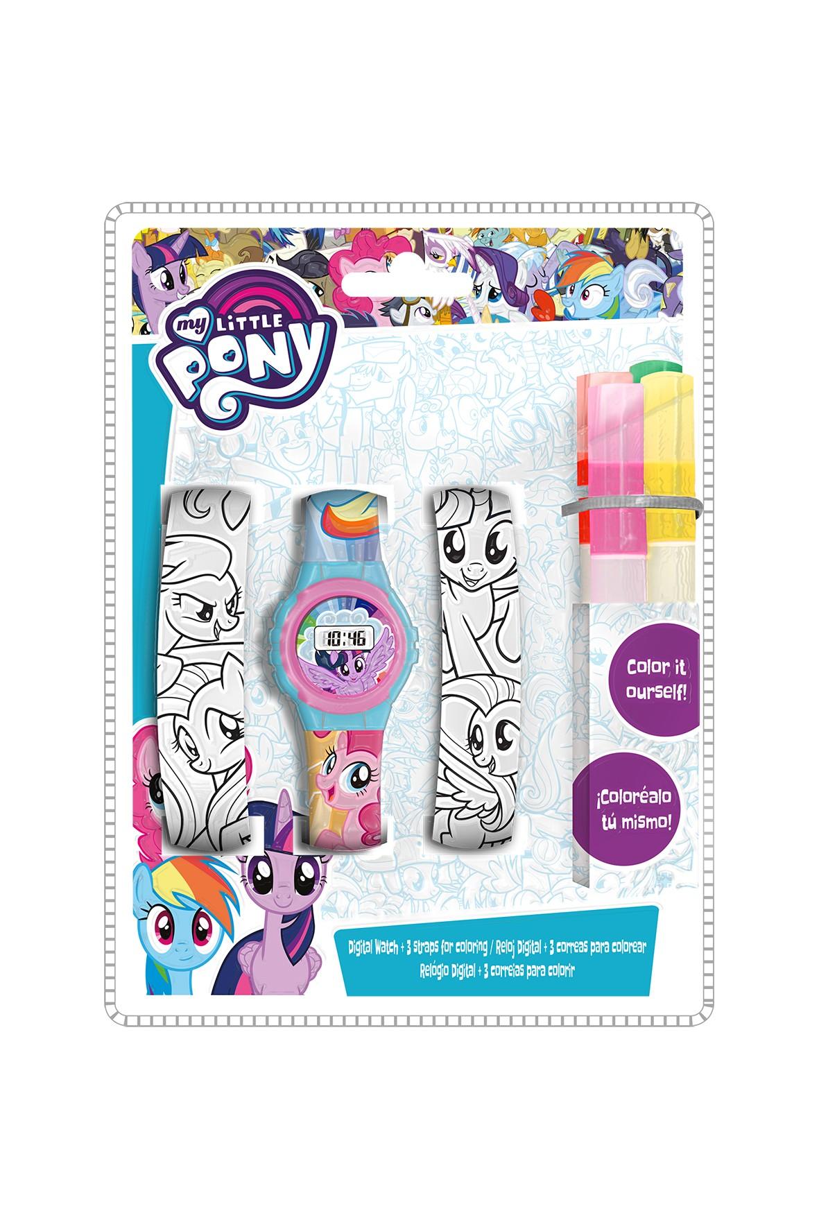 Zestaw zegarek cyfrowy z paskami do kolorowania i markerami My Little Pony