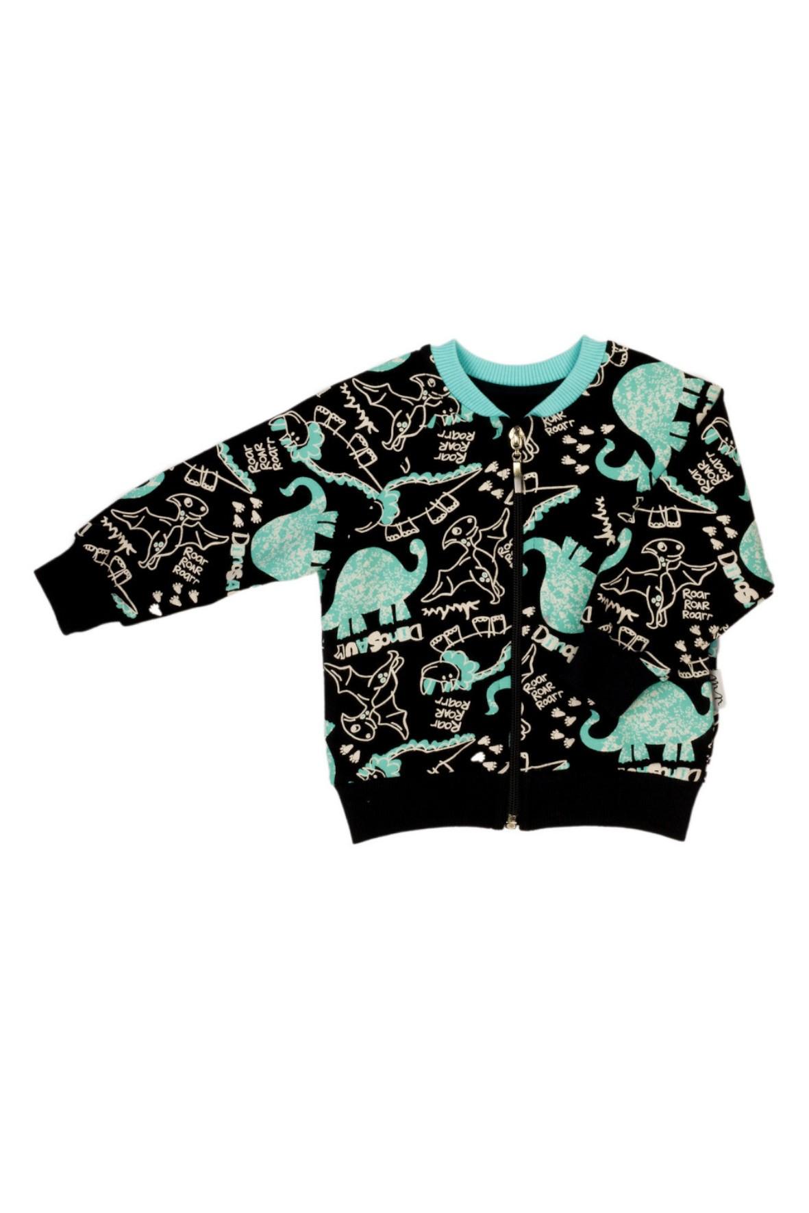 Czarna bluza boomerka dla chłopca w dinozaury