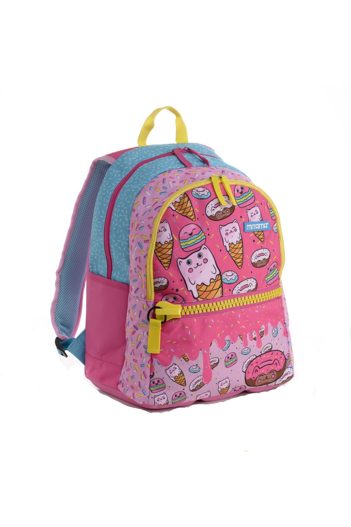 Plecak dziewczęcy szkolny - różowo - niebieski