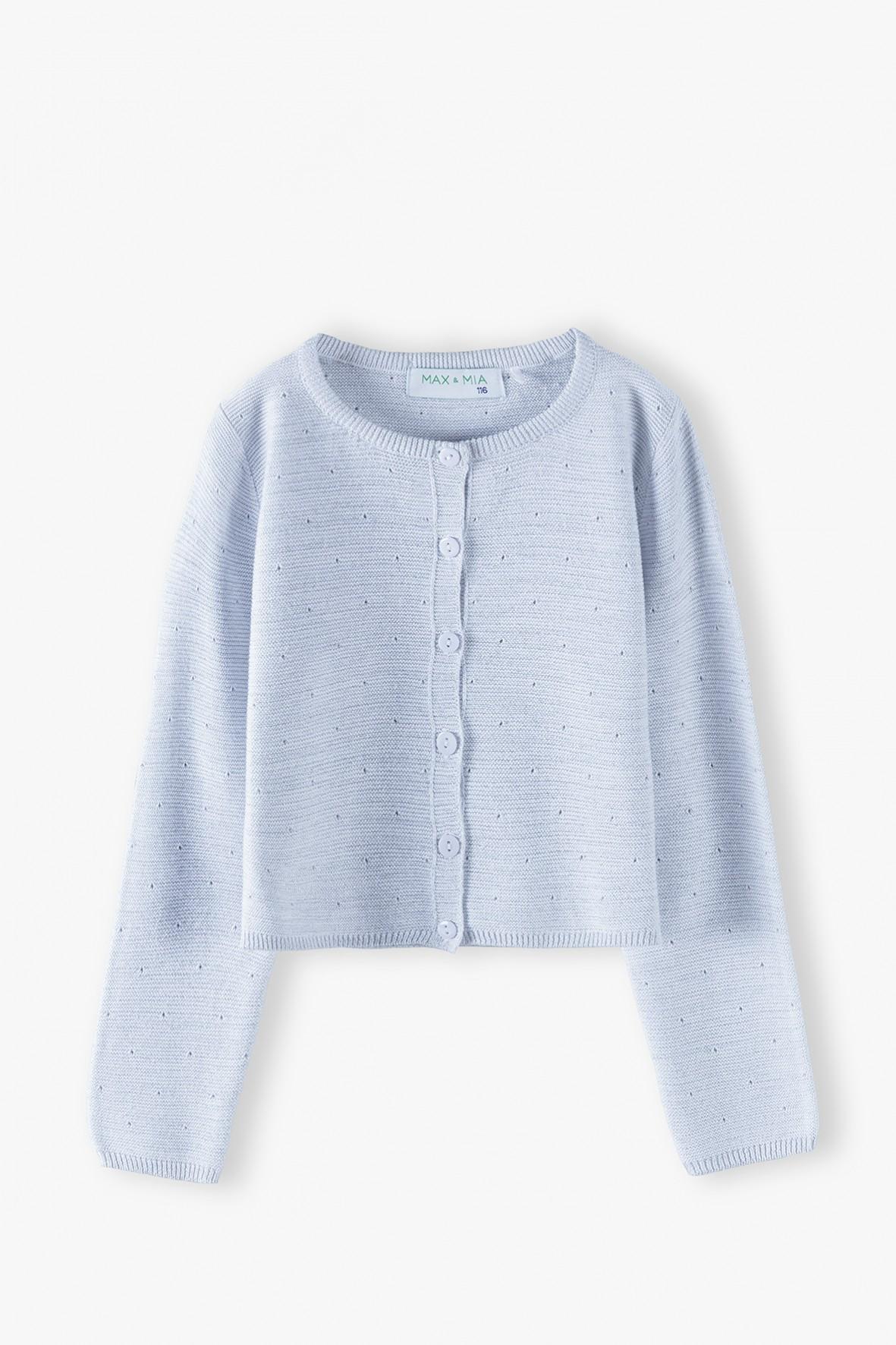 Sweter dziewczęcy w kropeczki - biały