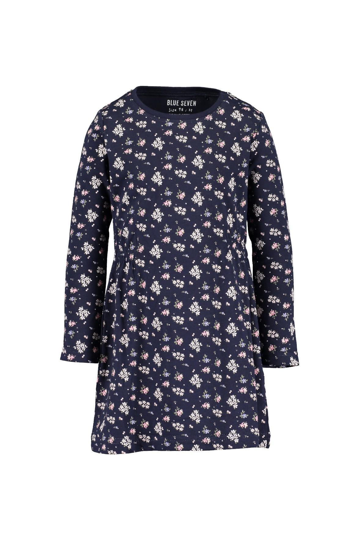 Granatowa bawełniana sukienka w kwiatki
