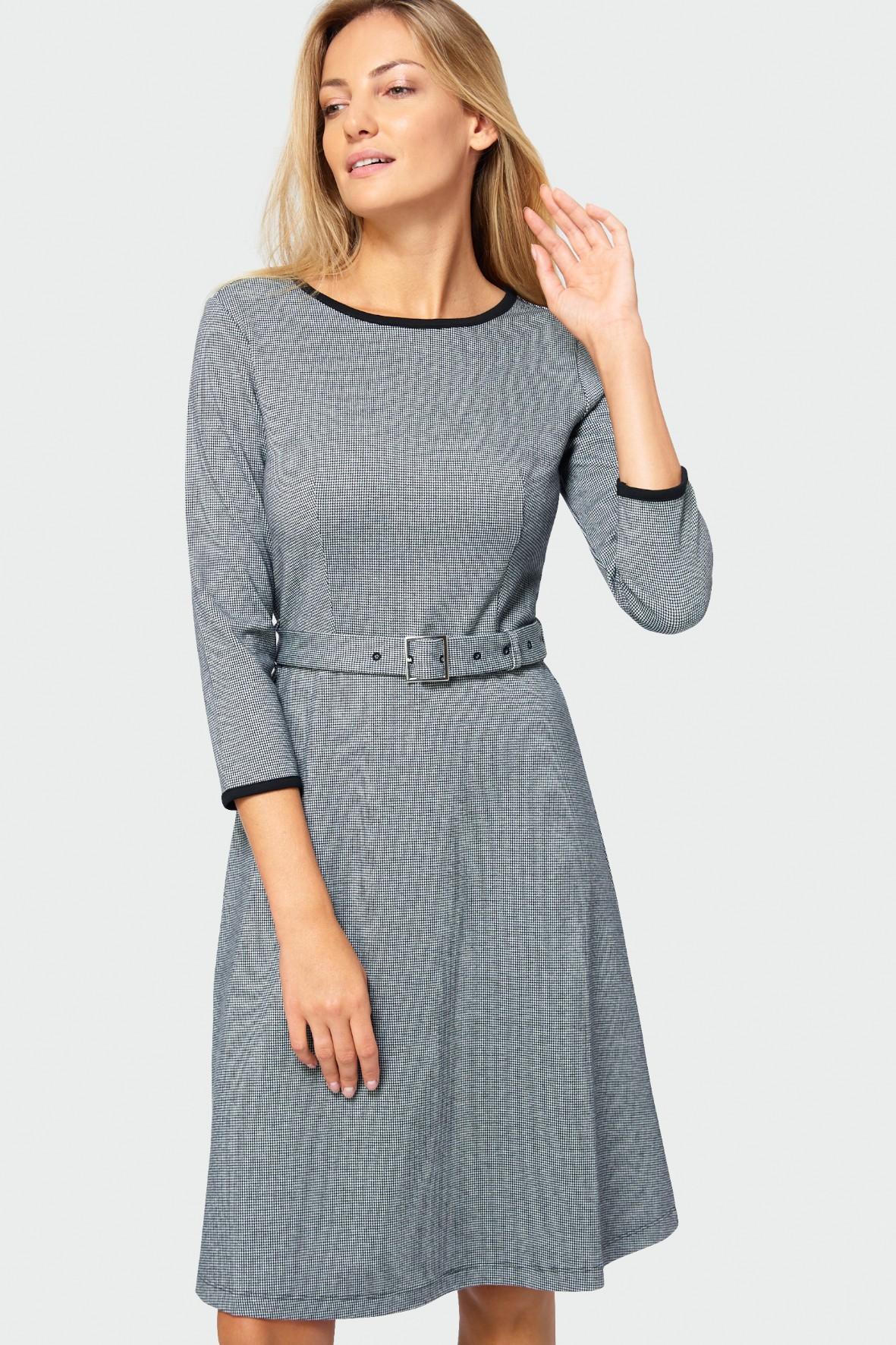 Sukienka damska szara z paskiem w talii rozm.34