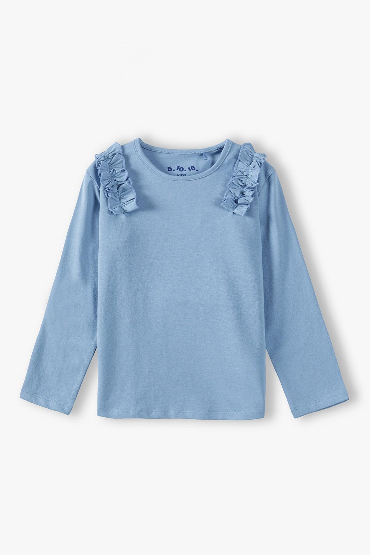 Bawełniana bluzka dziewczęca niebieska z długim rękawem