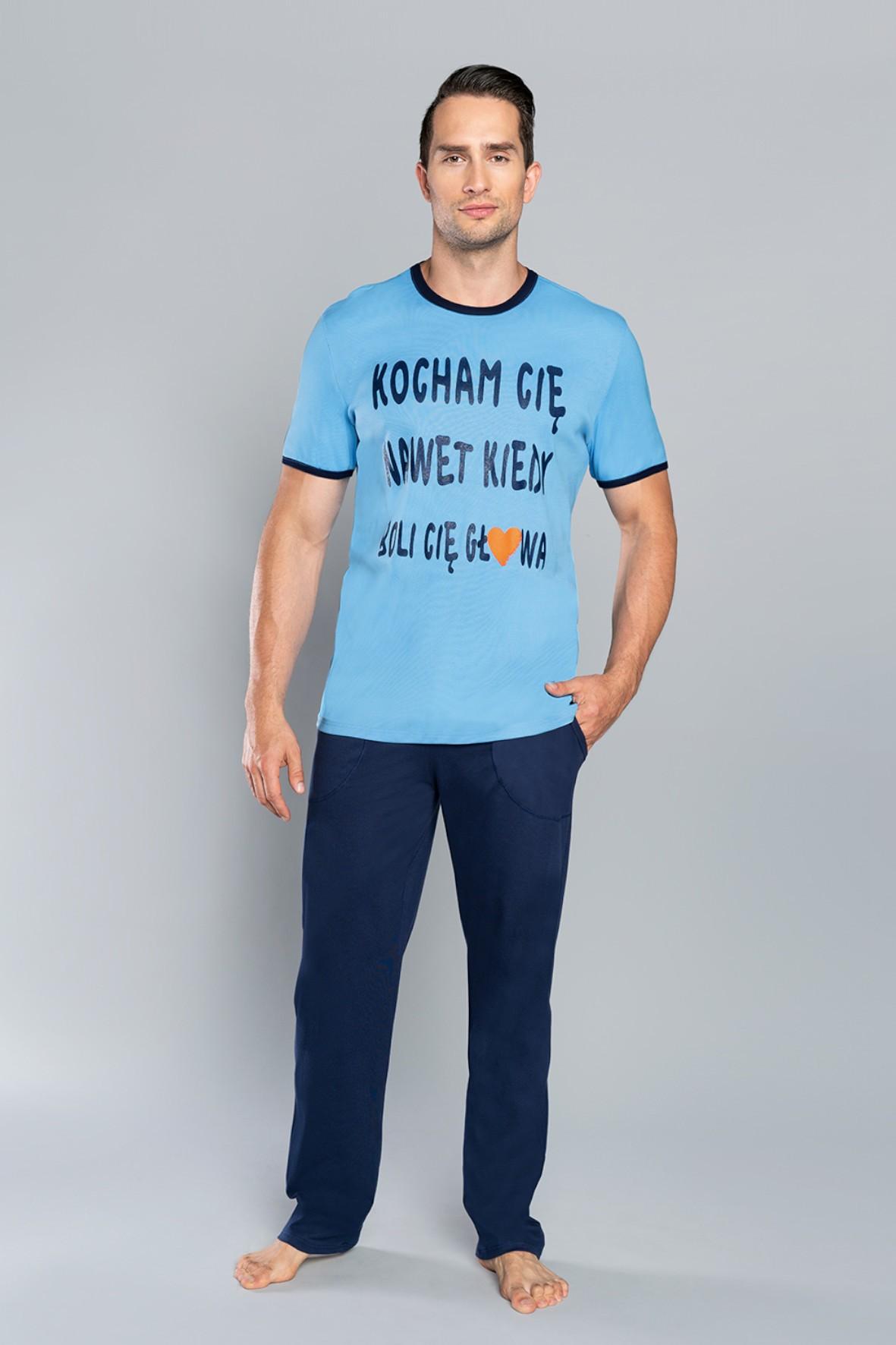 Piżama męska z napisem -  krótki rękaw i długie spodnie